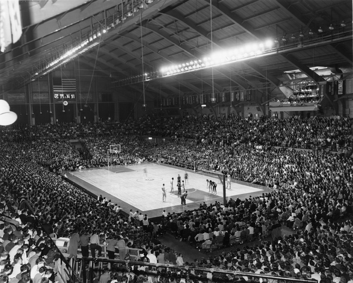 Free throw for Indiana during MSU vs. Indiana Basketball game, March 1957