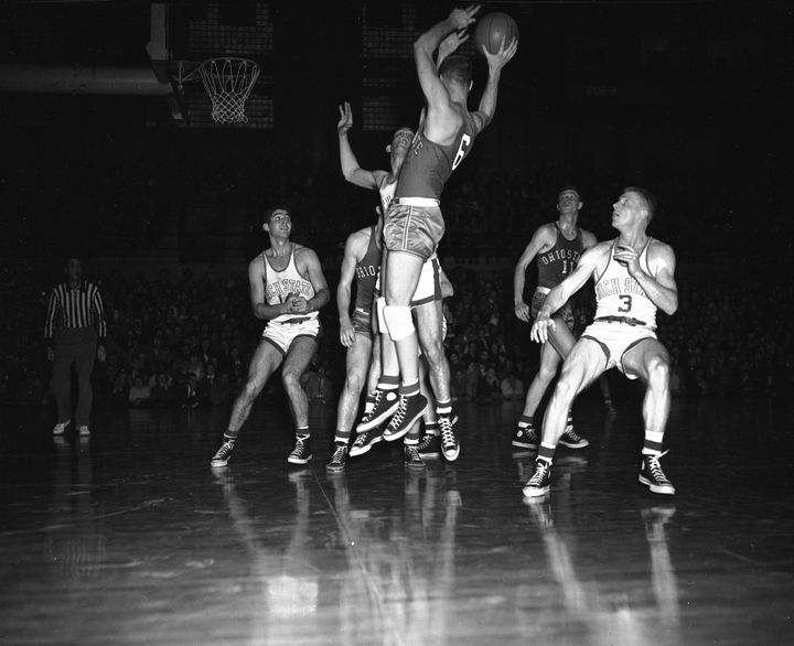 Basketball Game Action picture of MSC vs. Ohio State, February 13, 1952