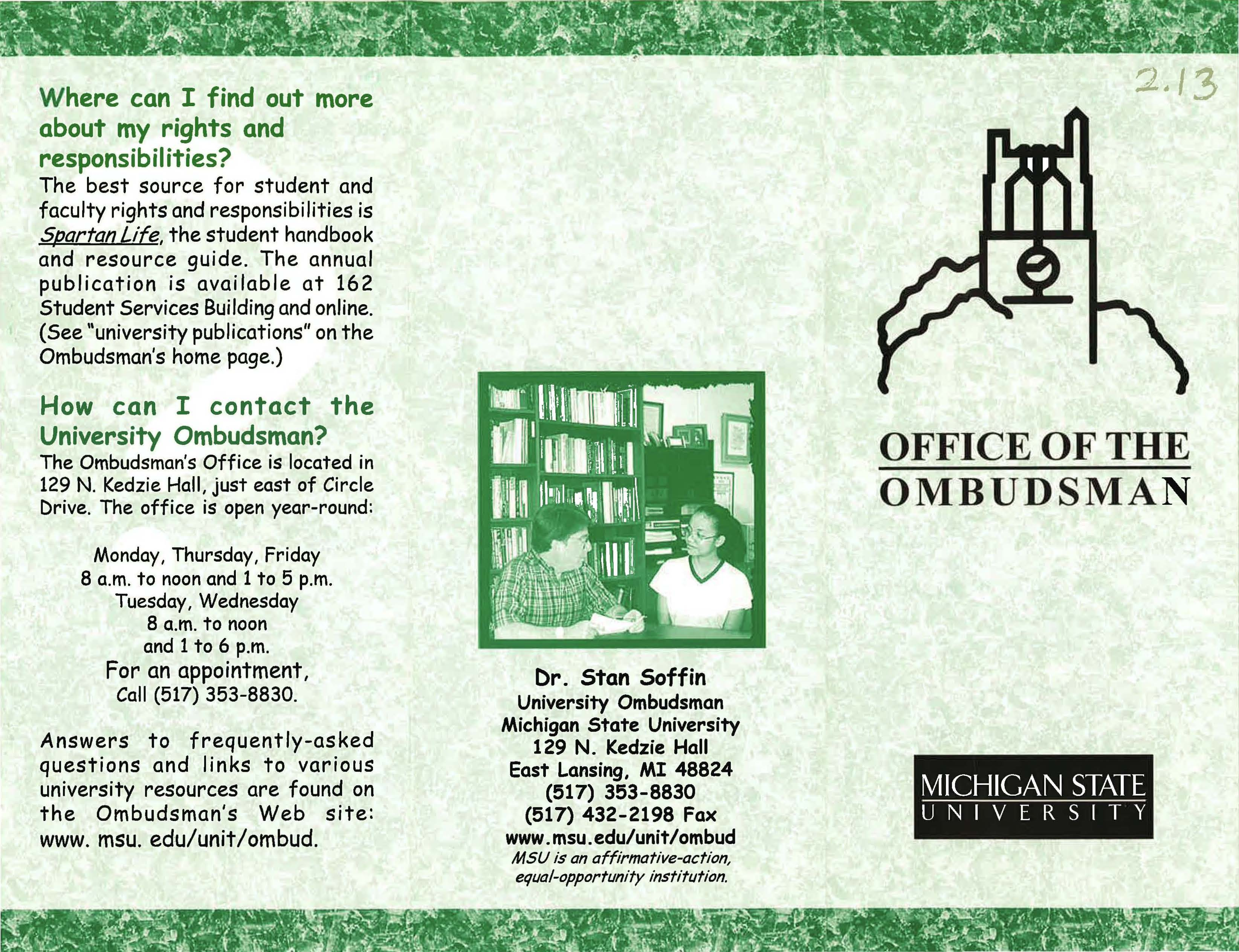Office of the Ombudsman brochure, circa 2000