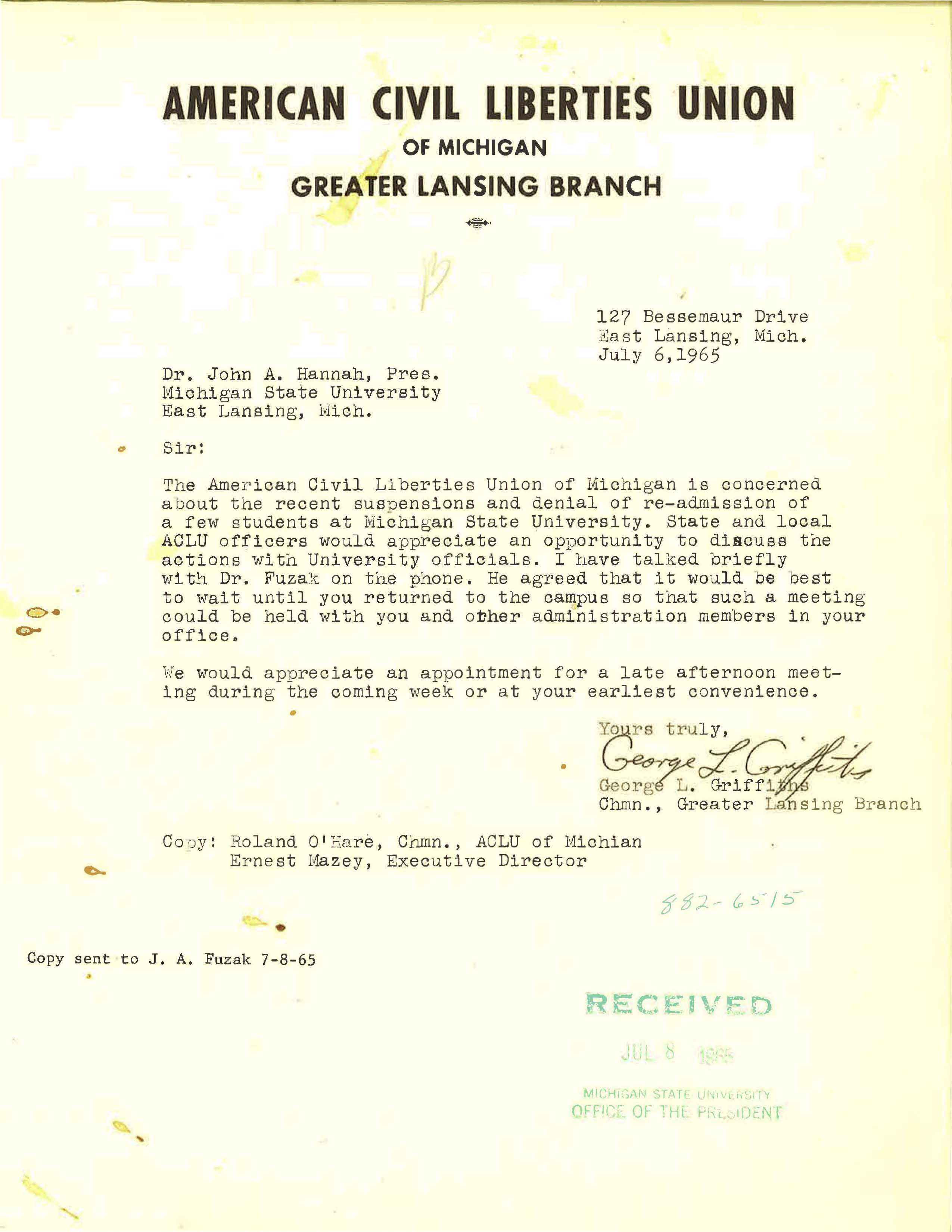ACLU, Greater Lansing branch letter, 1965