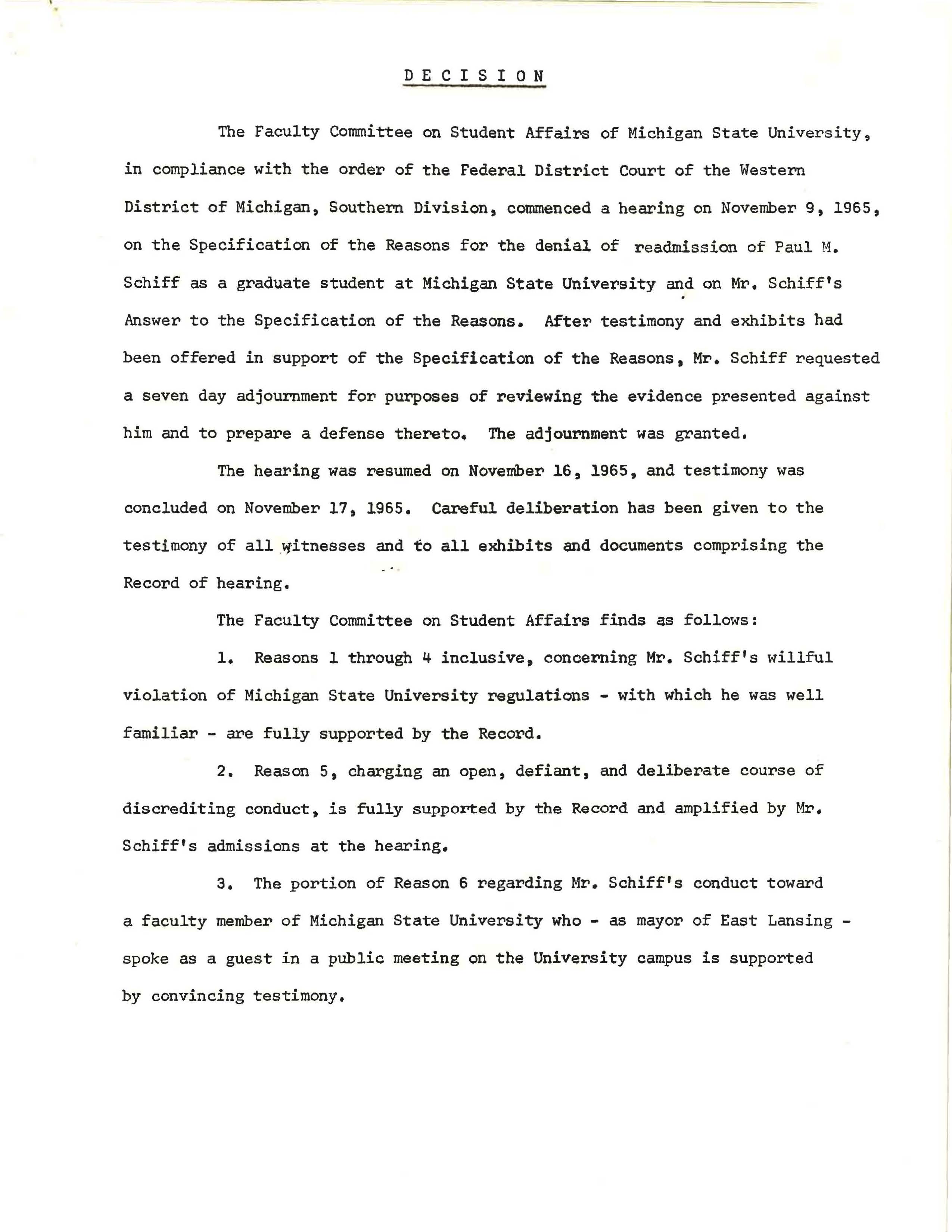 Faculty Committee on Student Affairs decision, 1965
