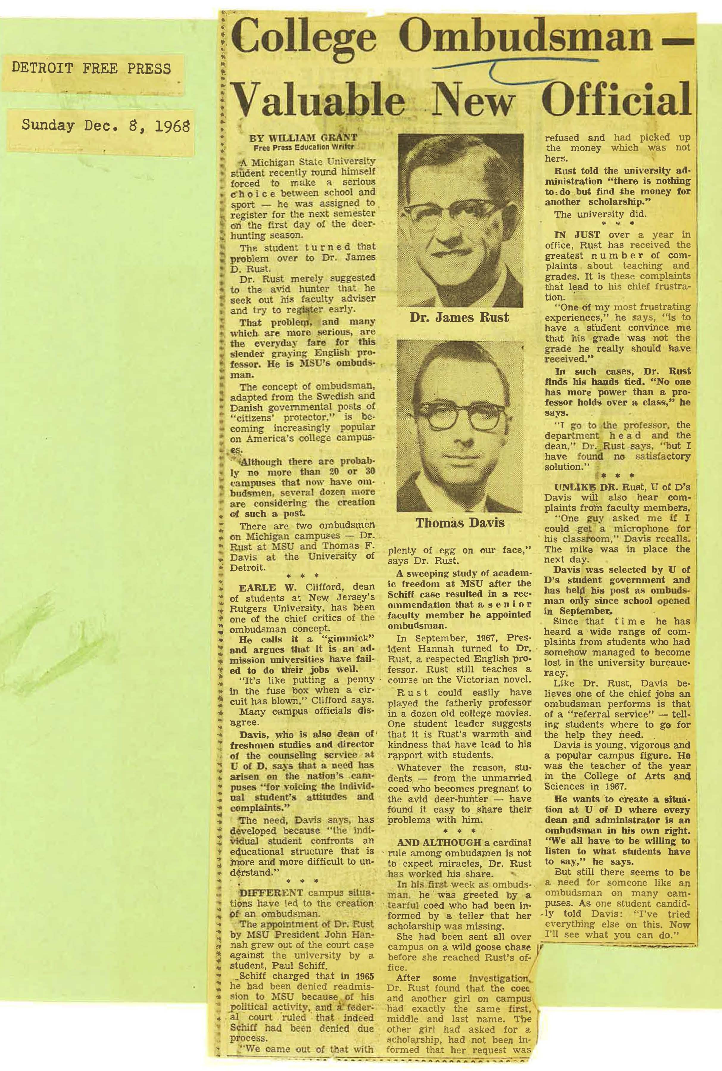 """College Ombudsman - Valuable New Official,"" 1968"