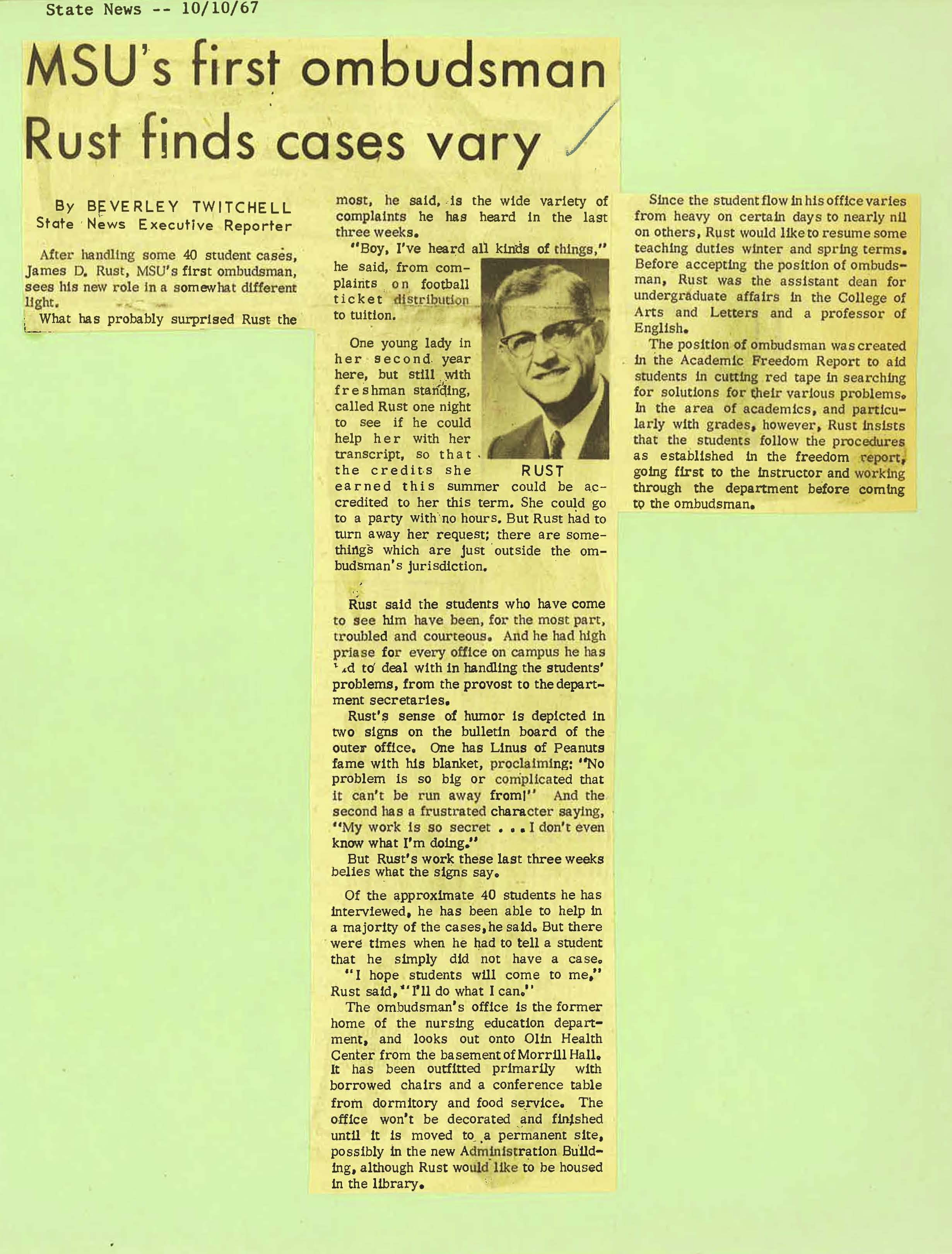 """MSU's first ombudsman Rust finds cases vary,"" 1967"