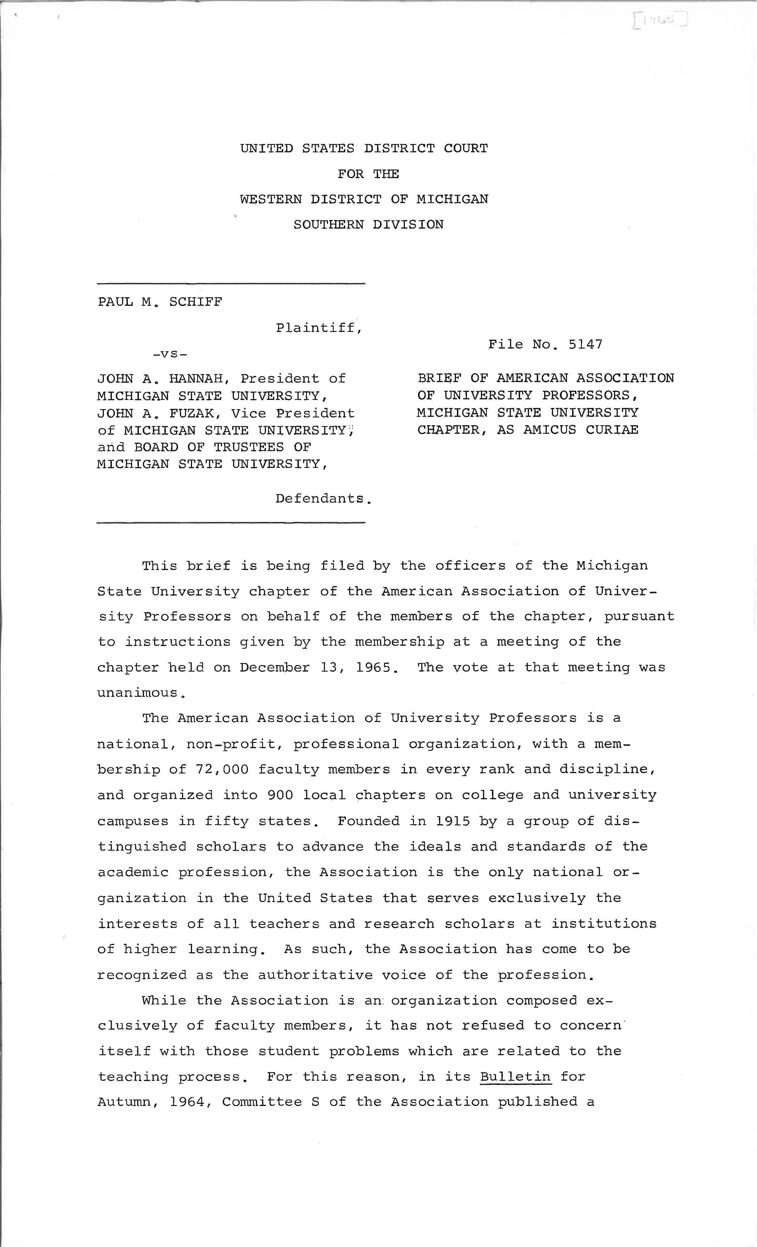 Brief of American Association of University Professors, MSU, 1965