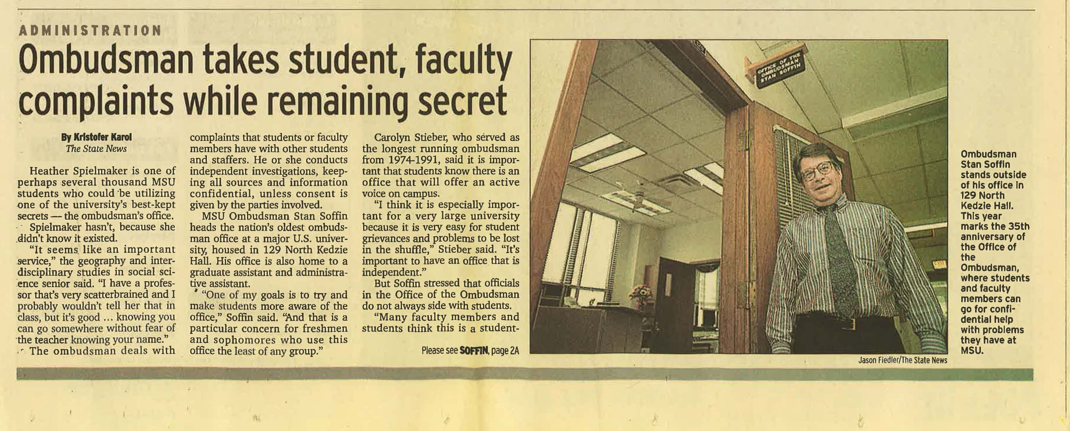 """Ombudsman takes student, faculty complaints while remaining secret,"" 2002"