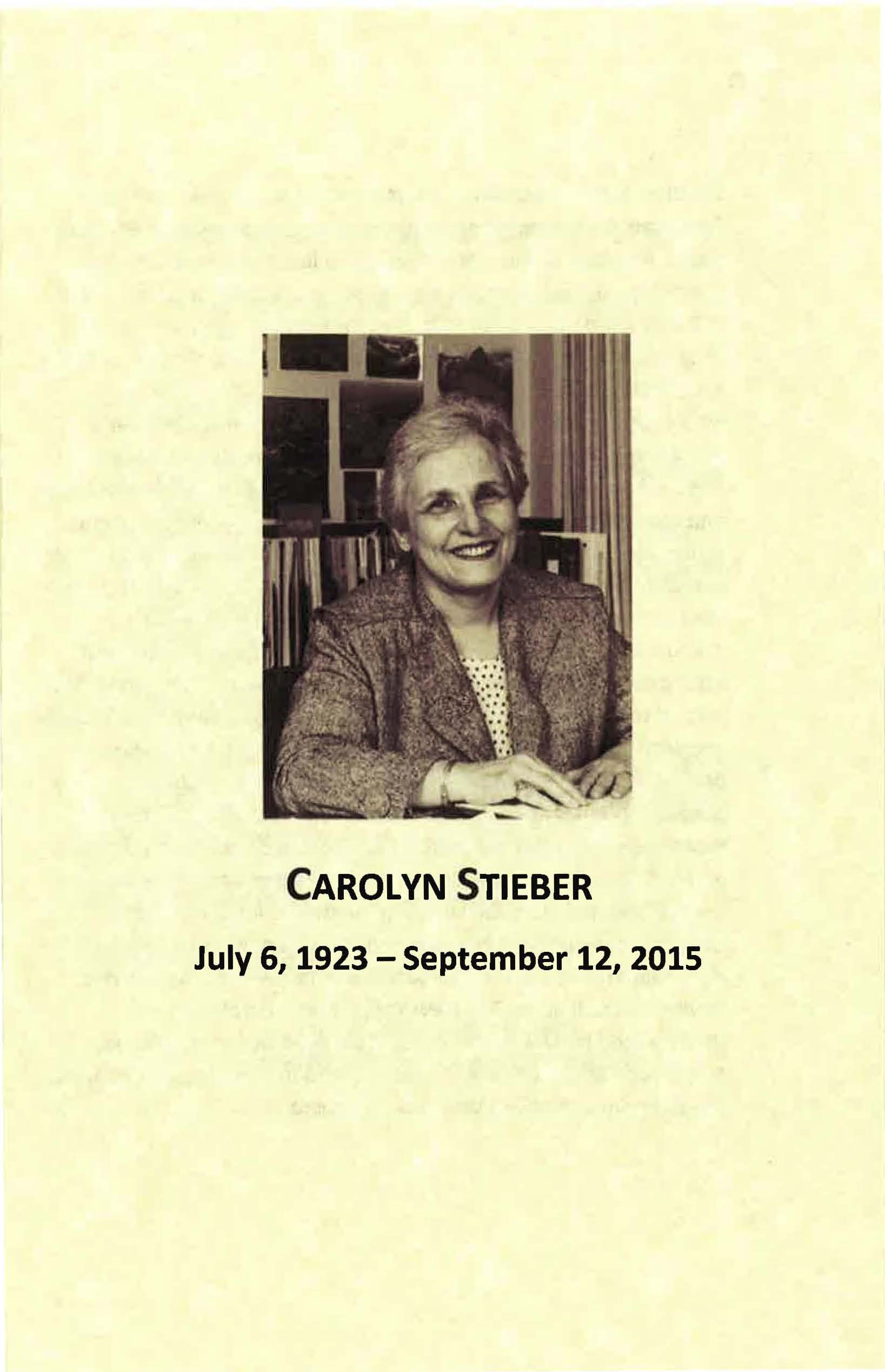 Carolyn Stieber memorial service program, 2015