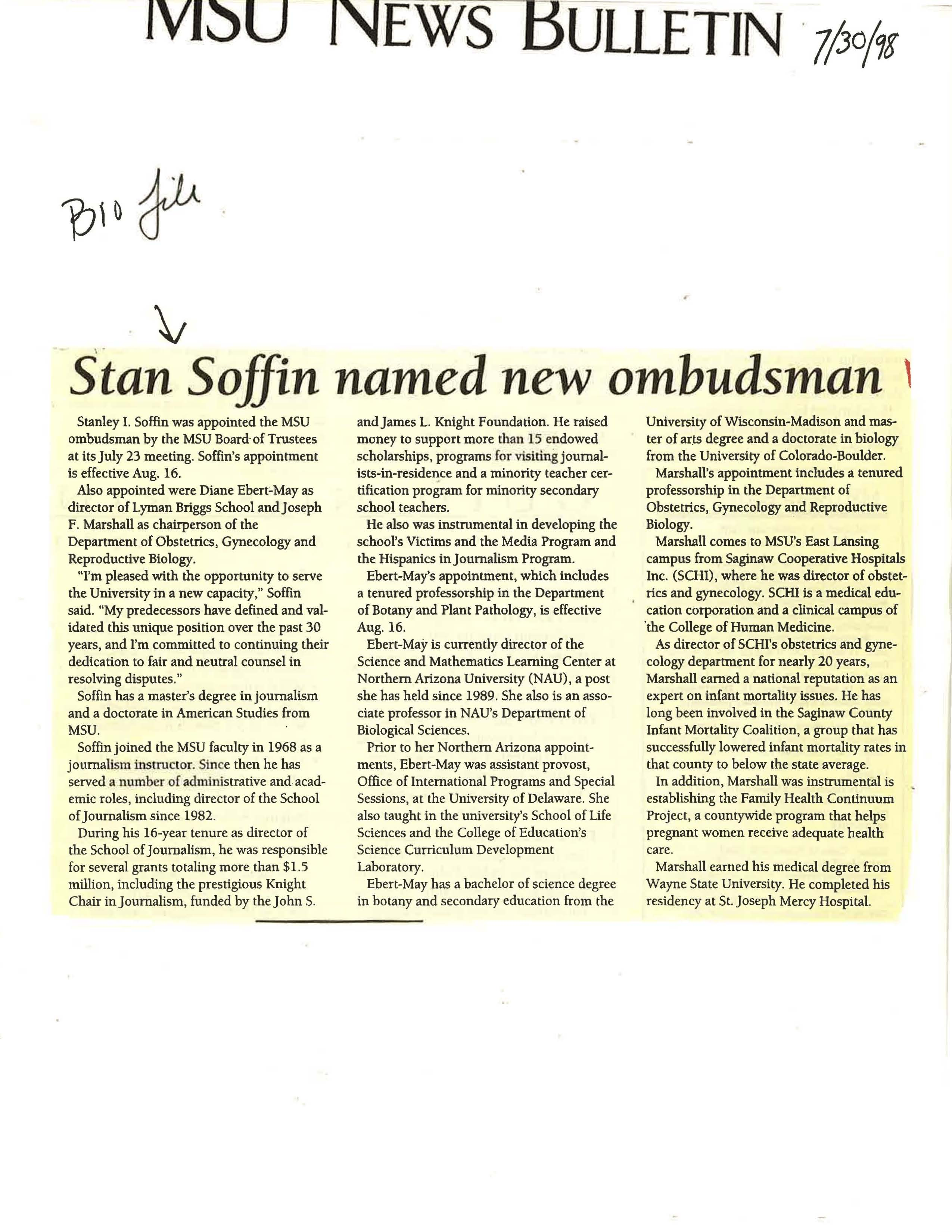 """Stan Soffin named new ombudsman,"" July 1998"