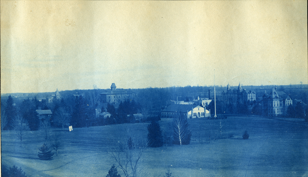 02. Campus view with Williams Hall, Wells Hall (I) Armory and the Botanical Laboratory, circa 1888.