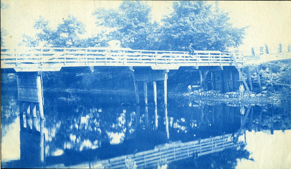 16. Bridge over the Red Cedar river, circa 1888.