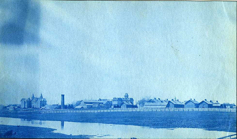 17. Barns, Wells Hall (I), Williams Hall, Boiler House and Mechanical Laboratory building,  circa 1888
