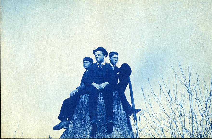 36. Three boys sitting on a stump, circa 1888.