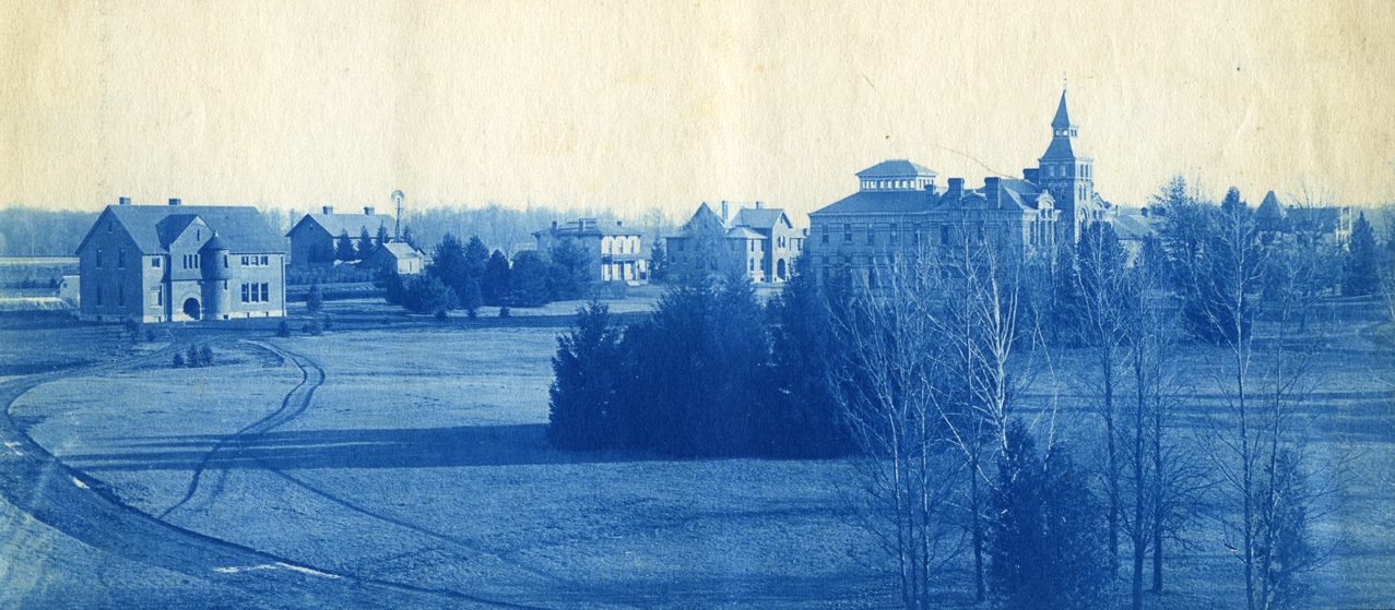 47. Campus with Linton Hall, Horticultural Laboratory (Eustace Cole Hall), and Agricultural Laboratory (Cook Hall), circa 1888.