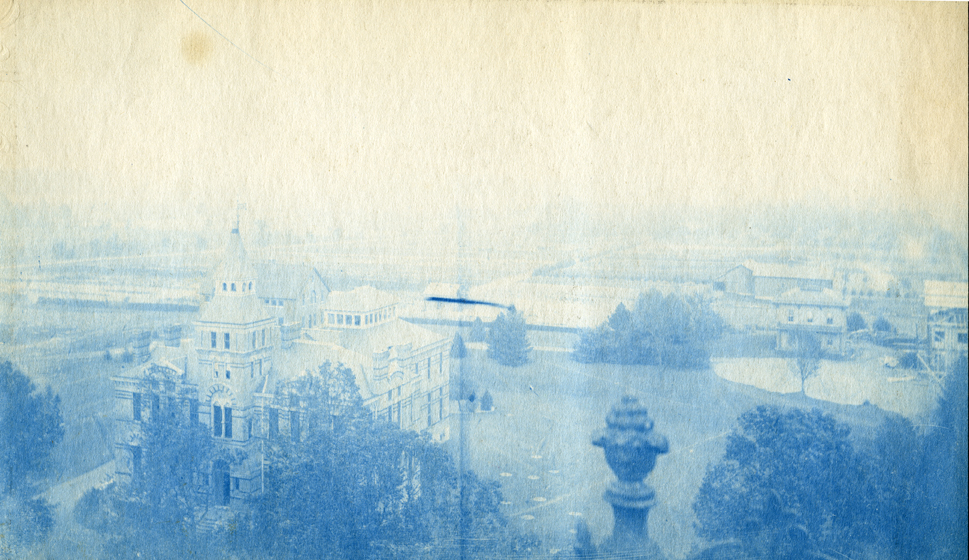 55. View of camps from top of building, circa 1888.