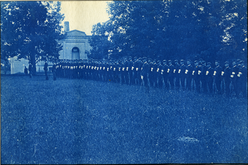 58. Students lined up for military drill, circa 1888.