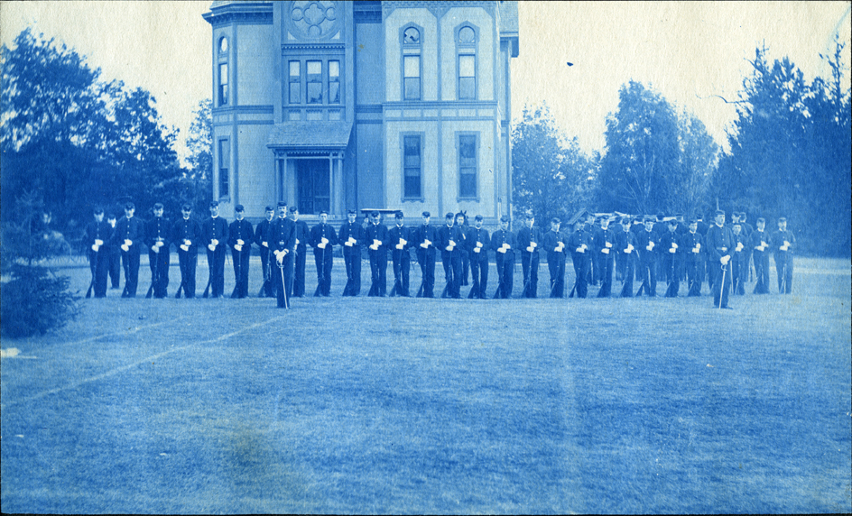 60. Students lined up for military drill, circa 1888.