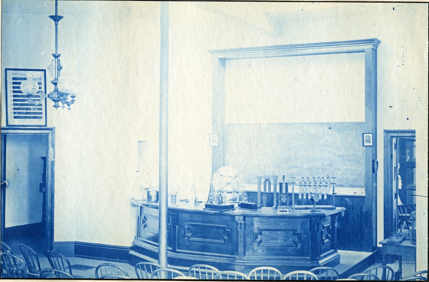 68. Lecture stage in a classroom, circa 1888.