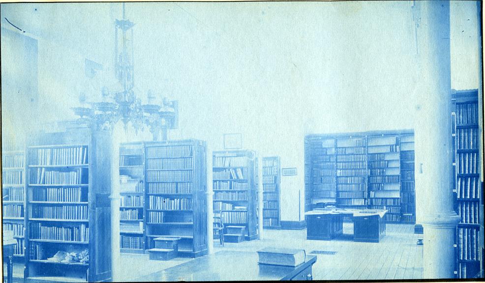 75. Interior of the Library, circa 1888.