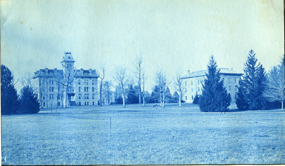78. Williams Hall and College Hall, circa 1888.