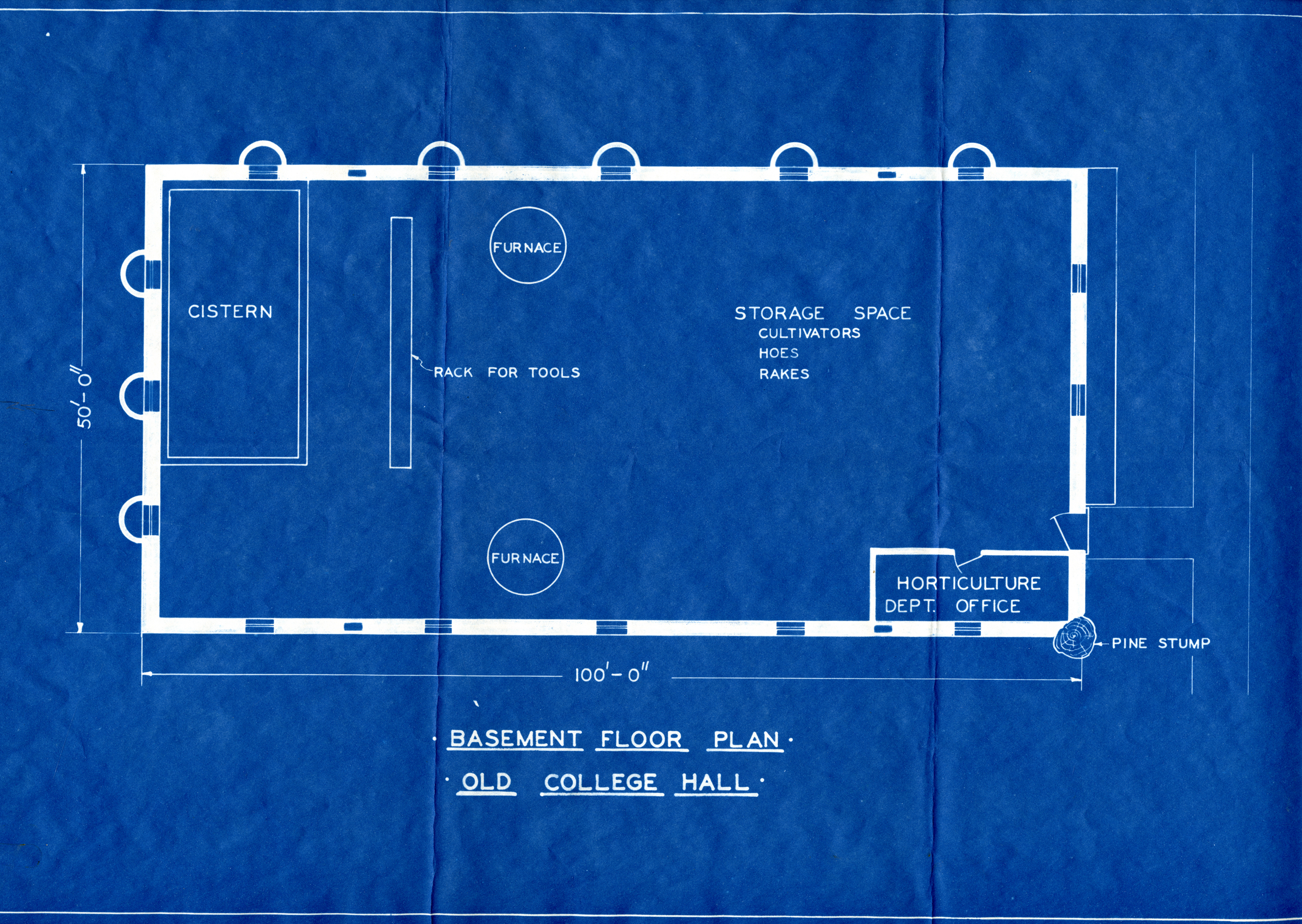 Blue Print for College Hall, Basement
