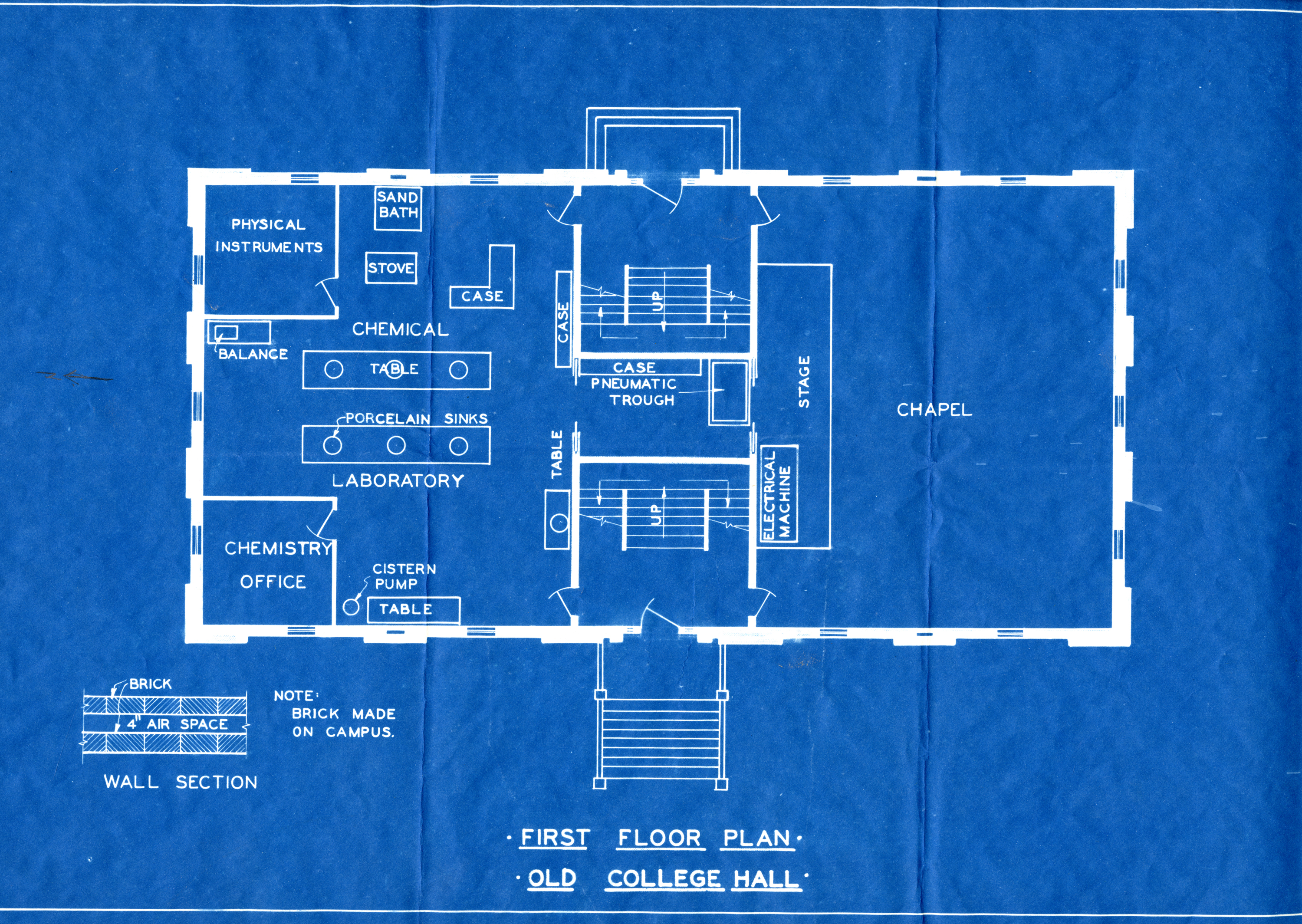 Blue Print for College Hall, First Floor