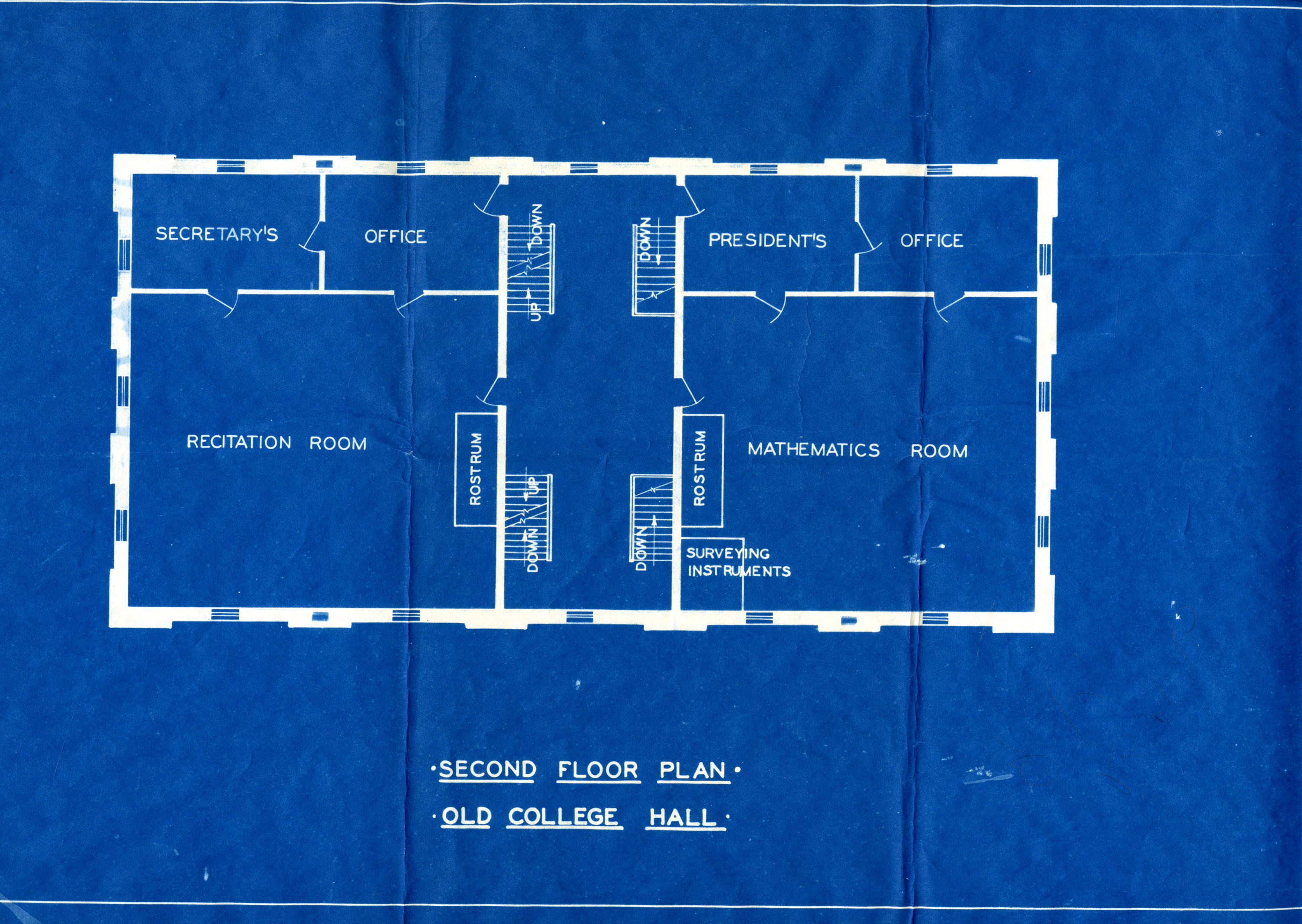 Blue Print for College Hall, Second Floor