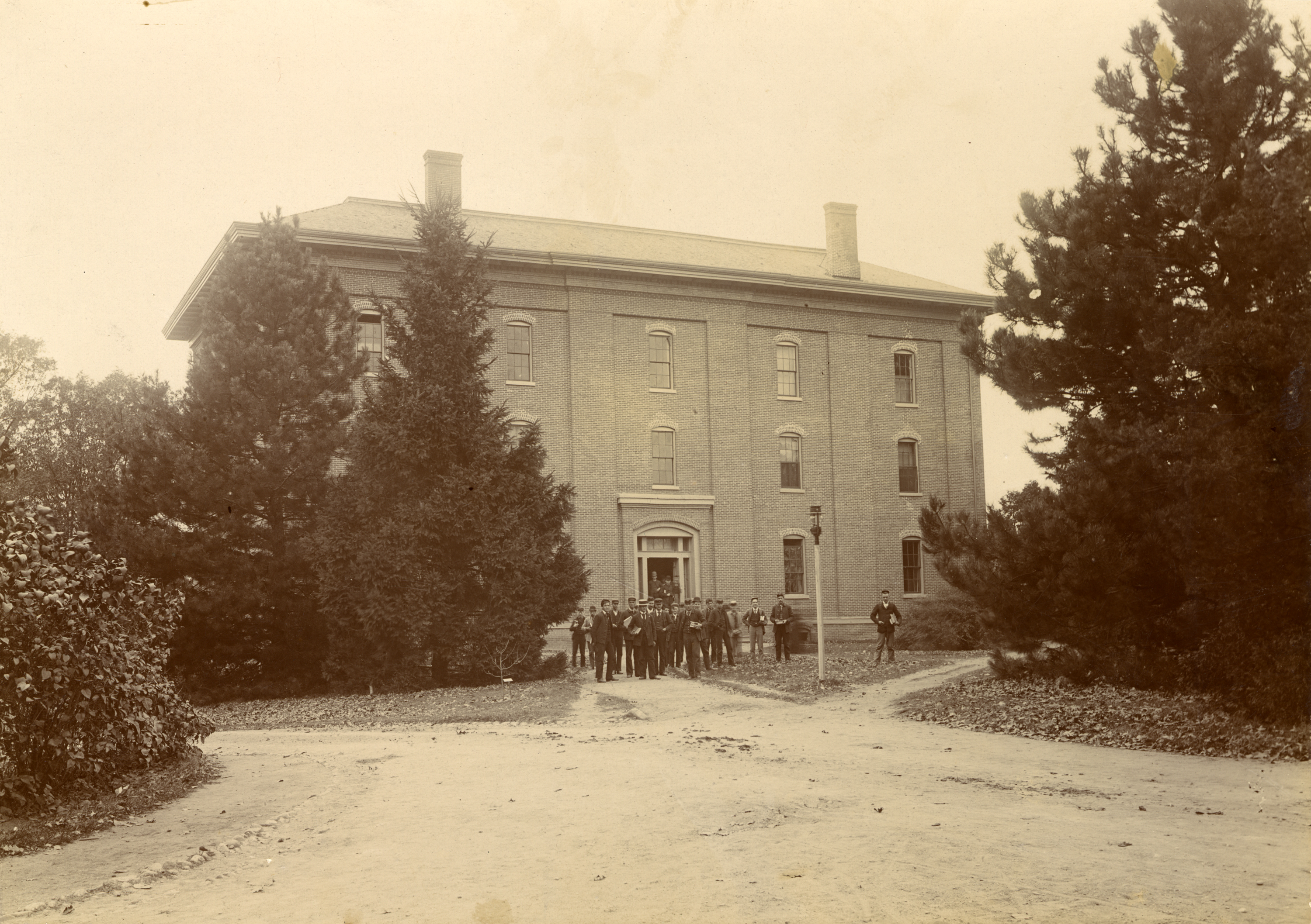 Students in Front of College Hall, circa 1896