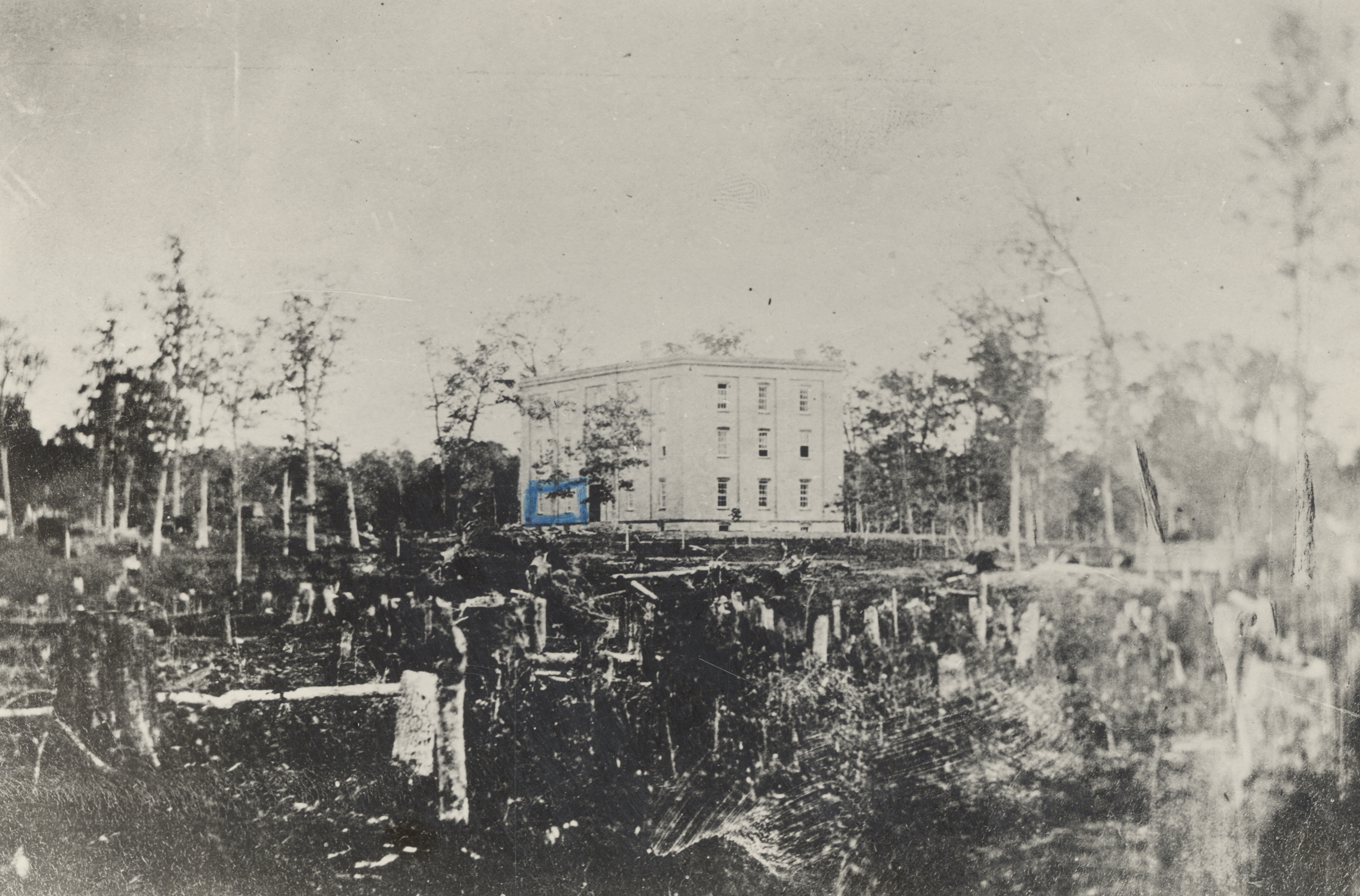 College Hall surrounded by stumps, 1857