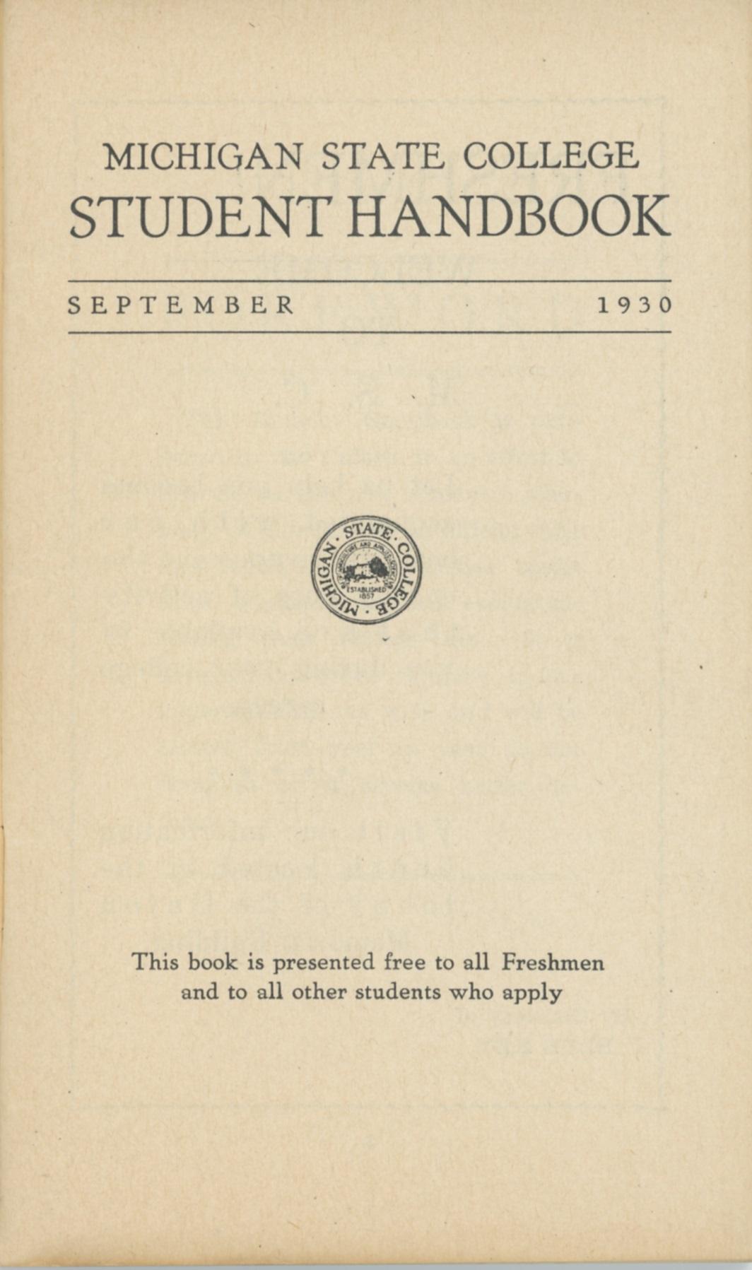 Student Handbook, 1930-1931