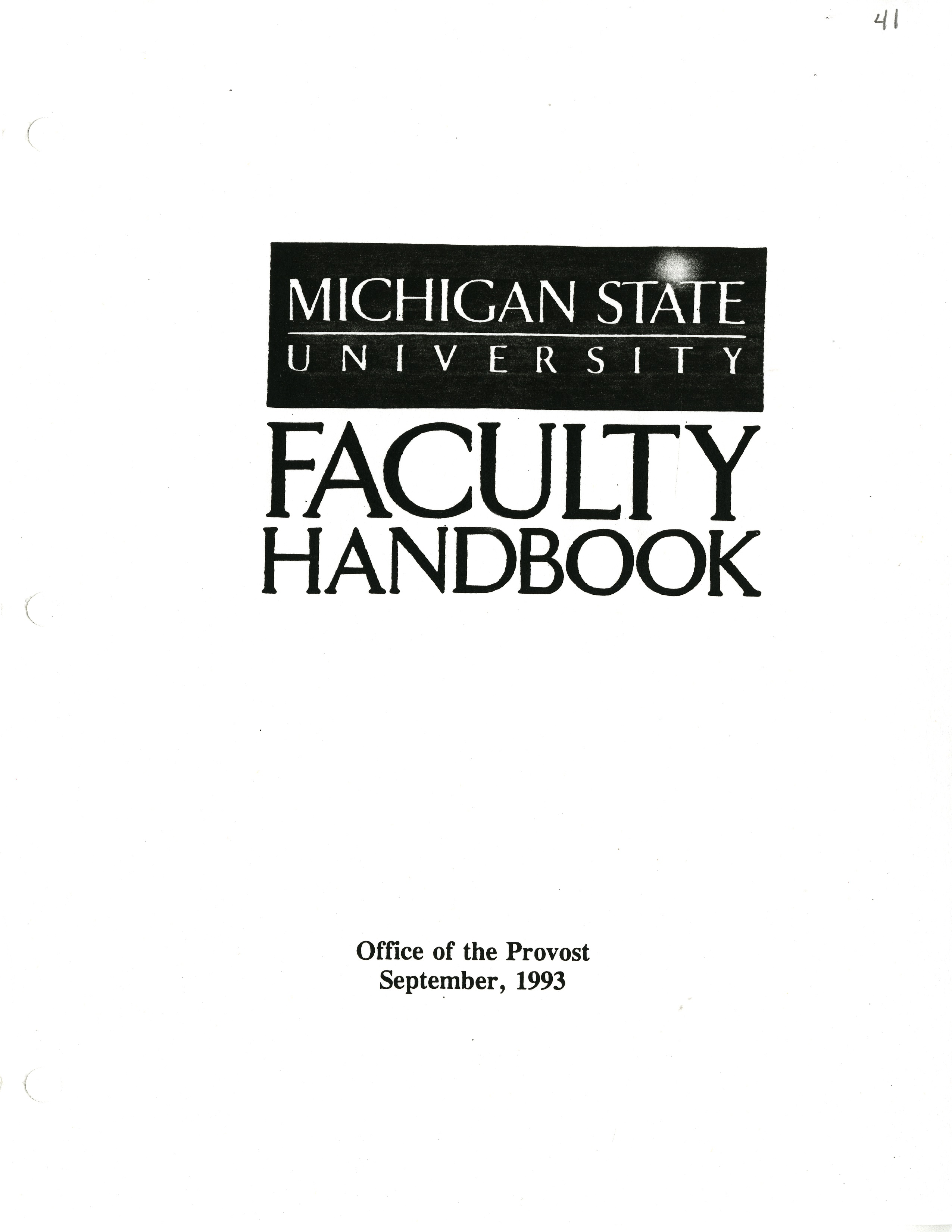 Faculty Handbook, 1993