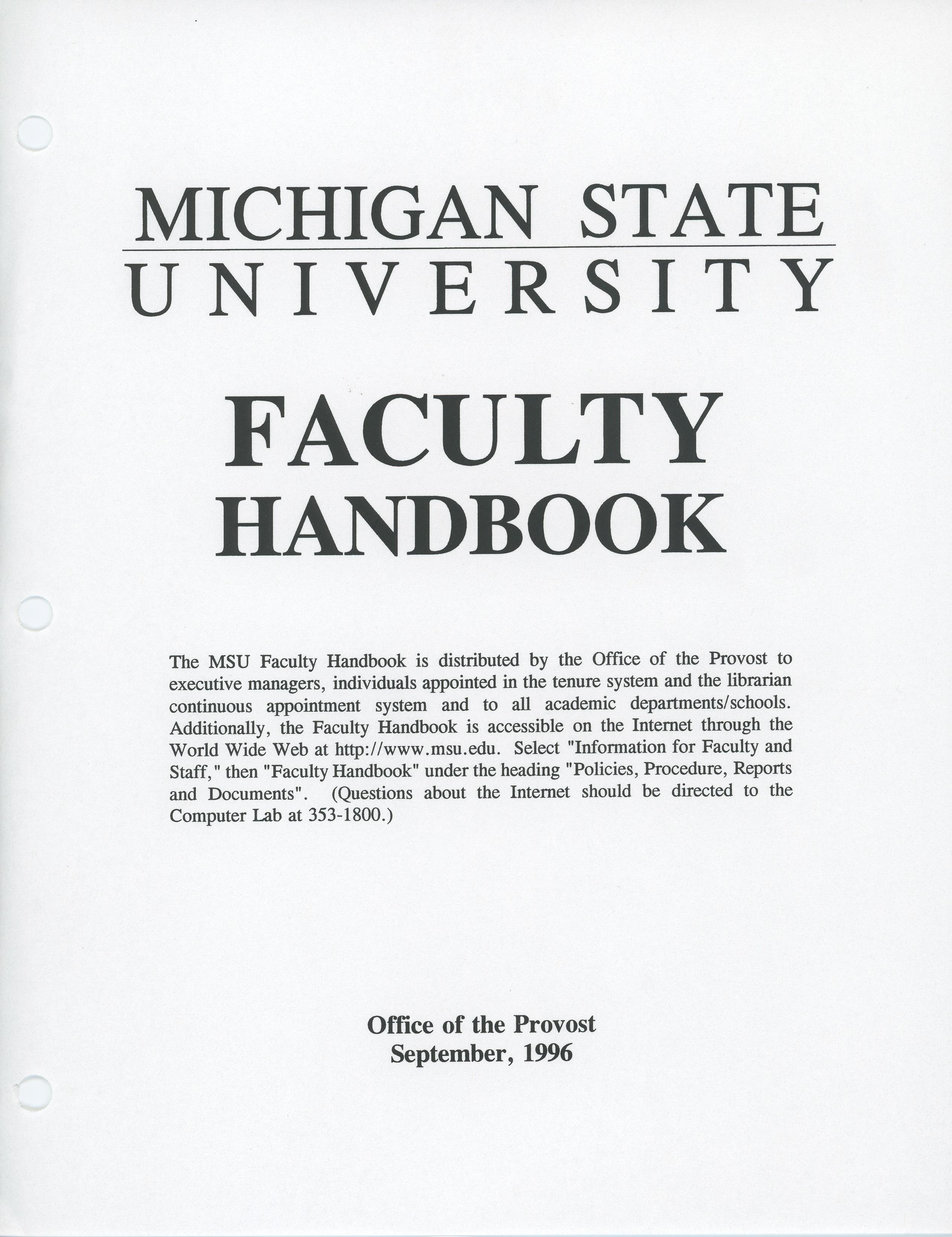 Faculty Handbook, 1996