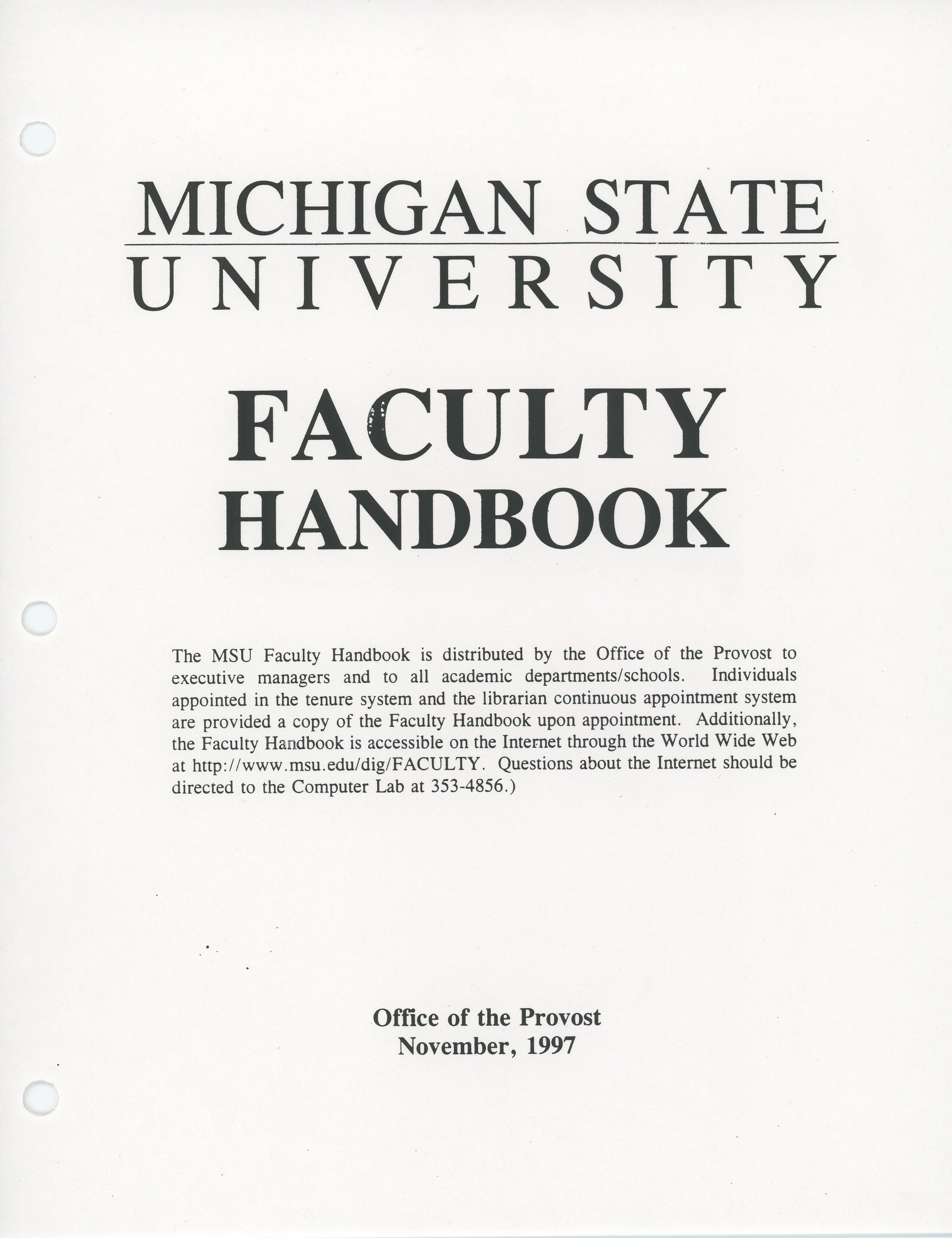 Faculty Handbook, 1997