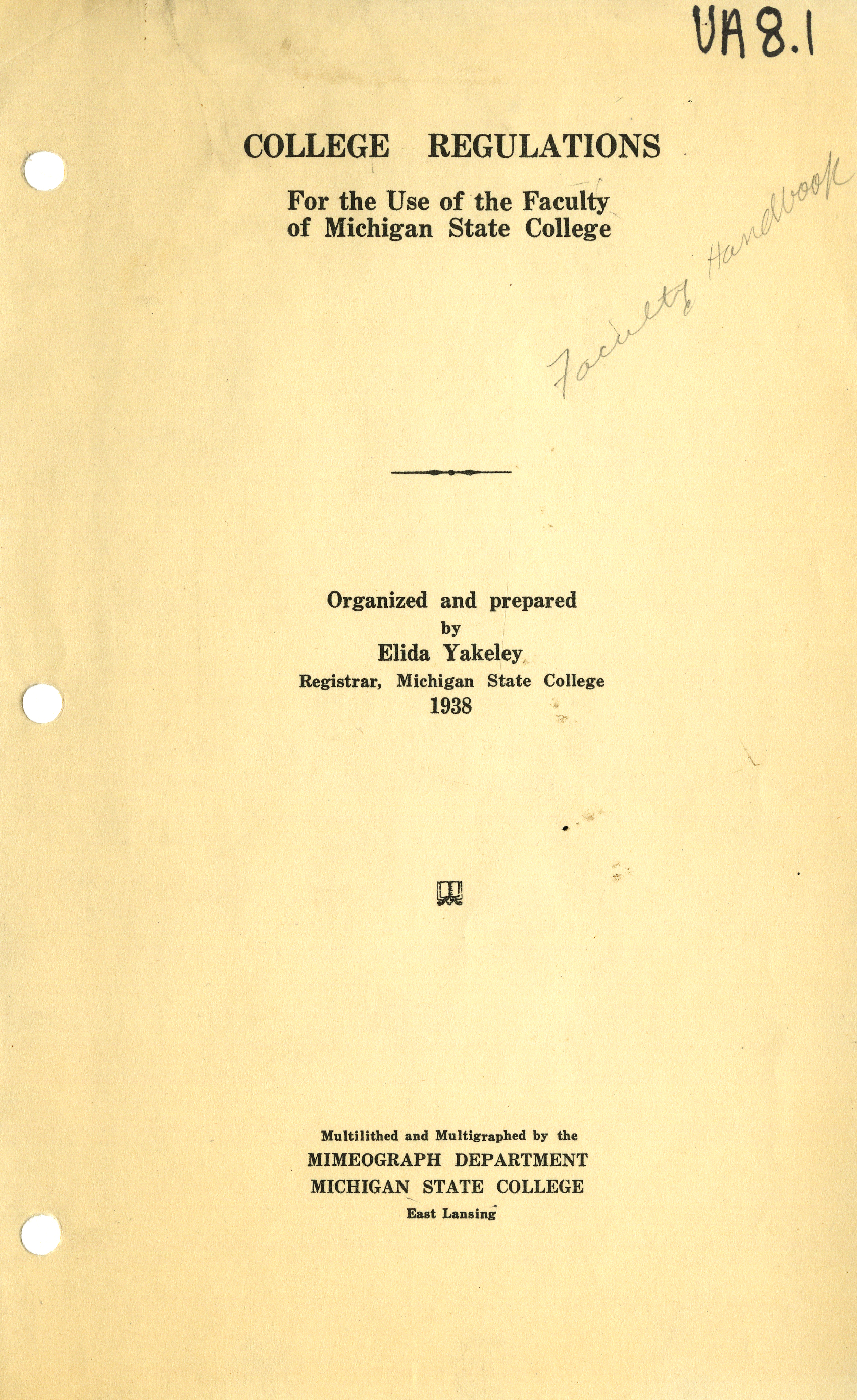 Faculty Handbooks, 1930-1939