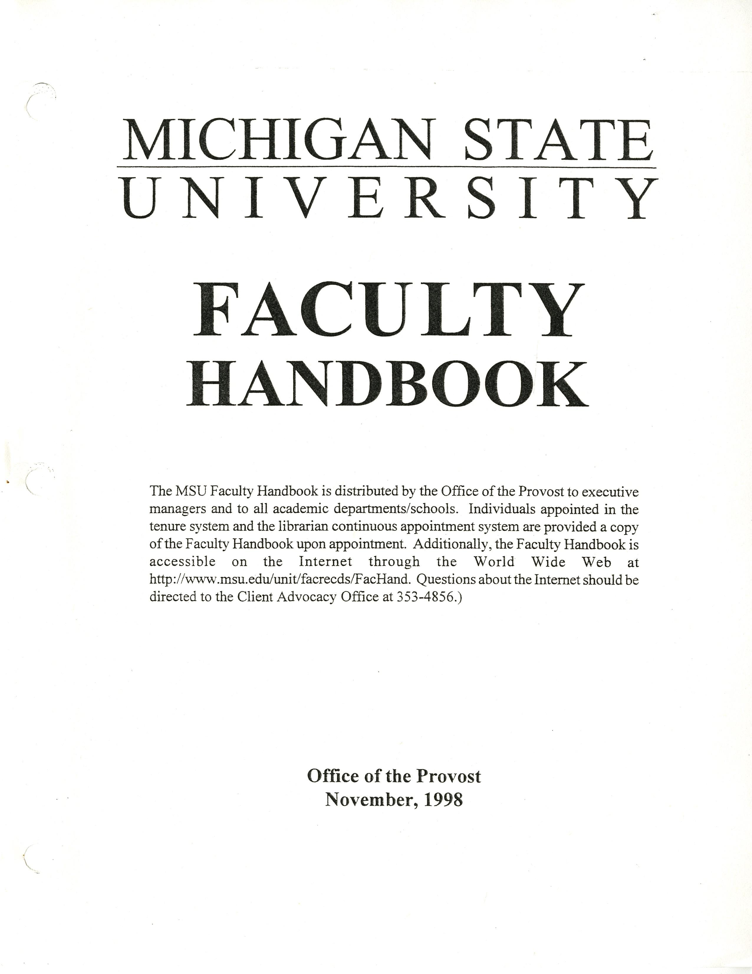 Faculty Handbook, 1998