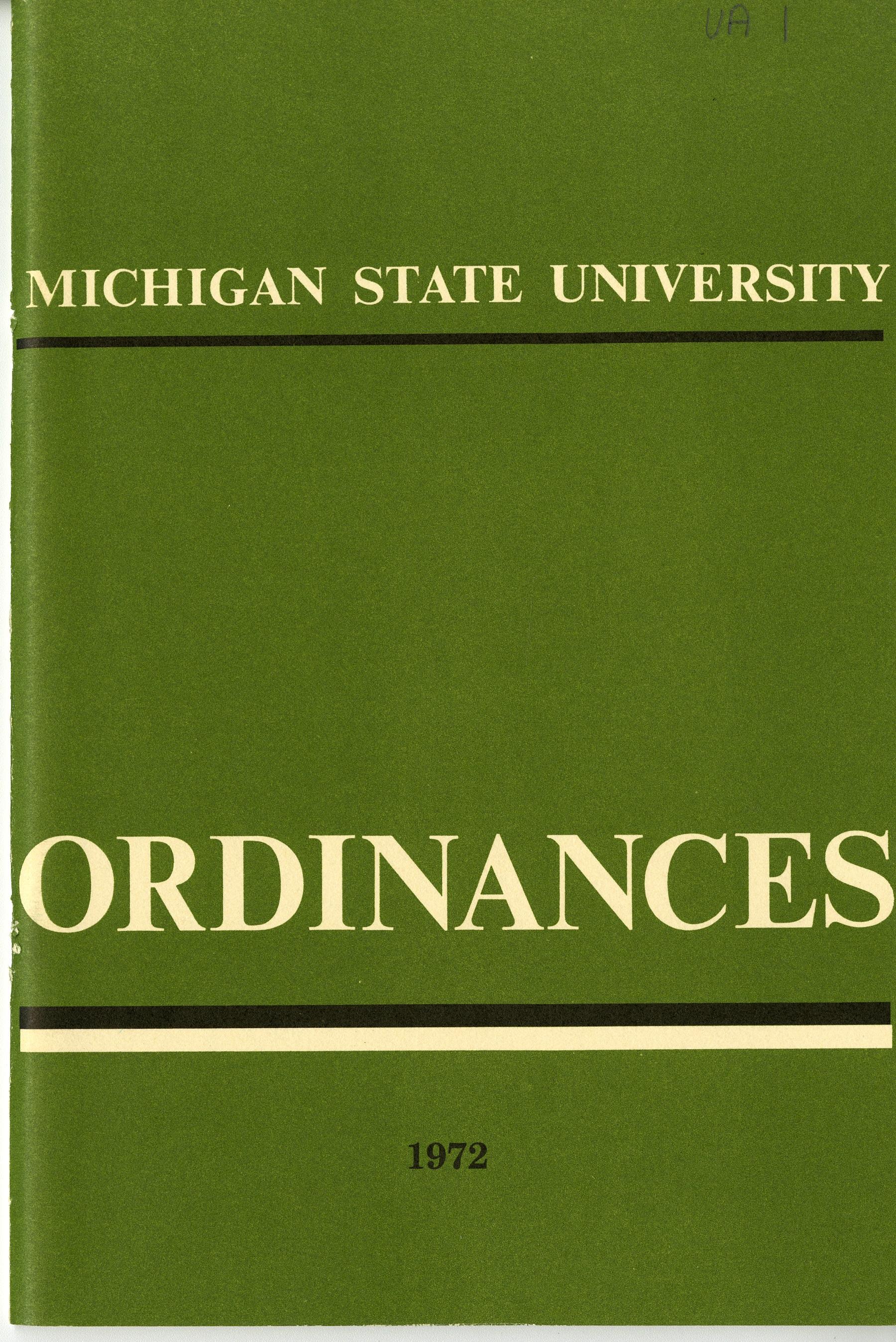 MSU Ordinances, 1972