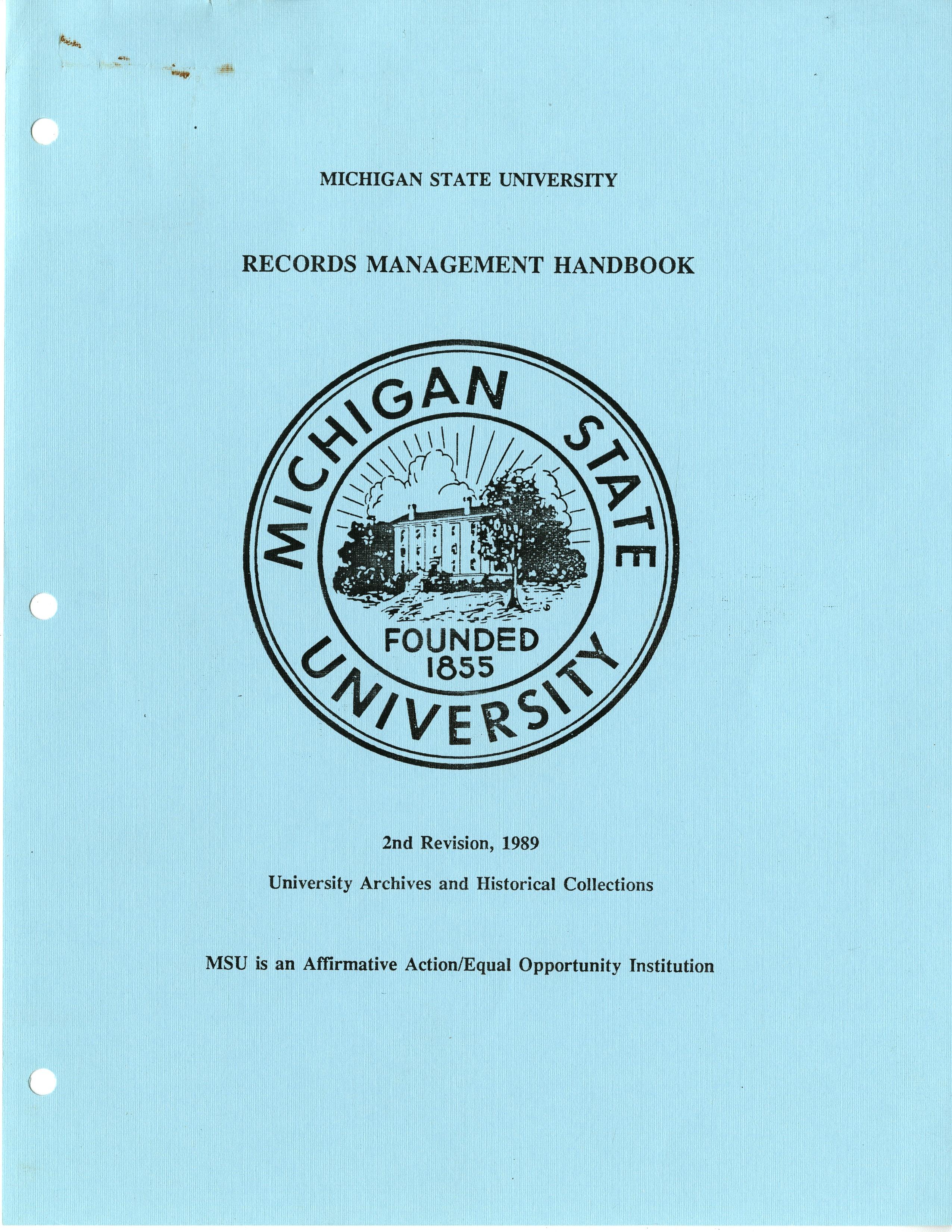 (Retired) Records Management Handbook, 1989