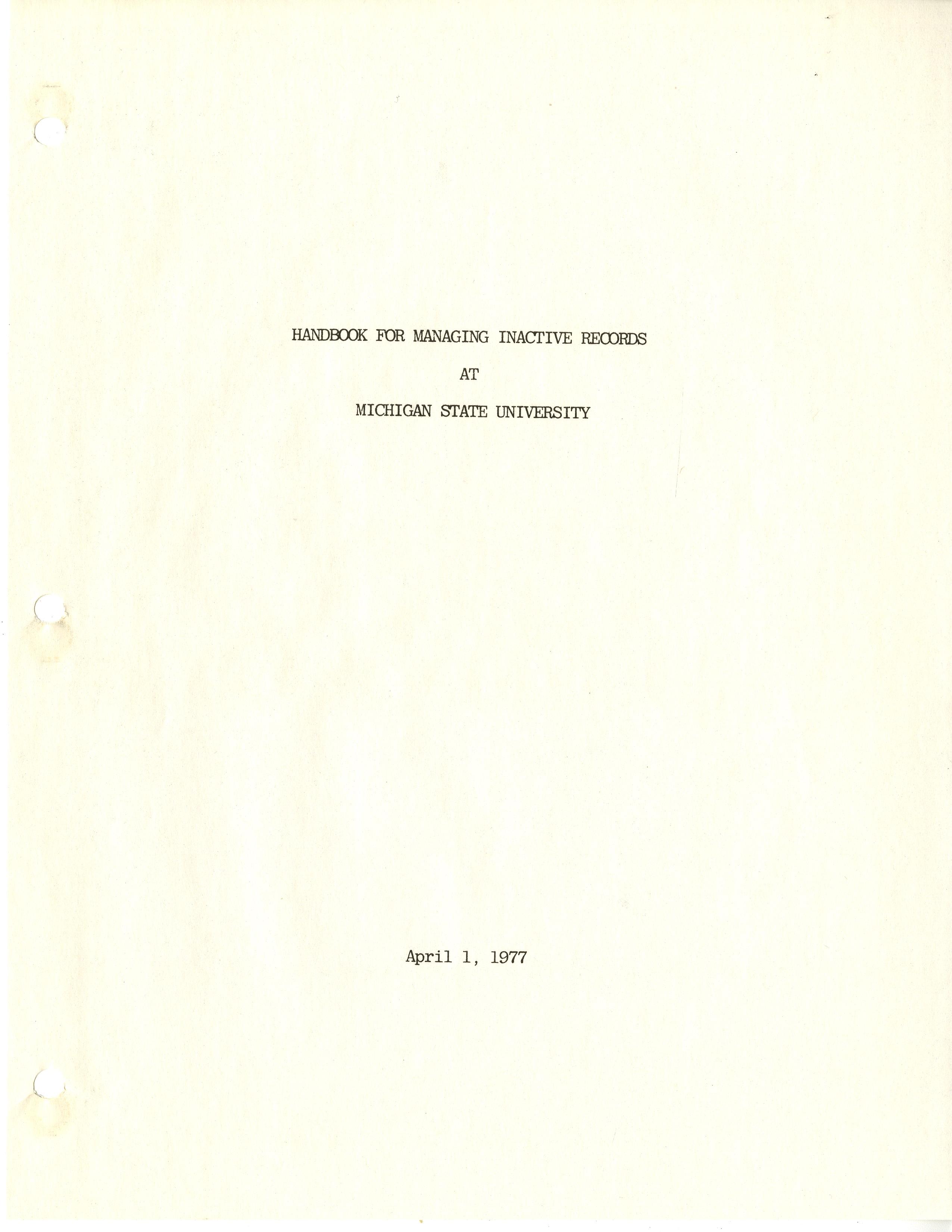 (Retired) Records Management Handbook, 1977