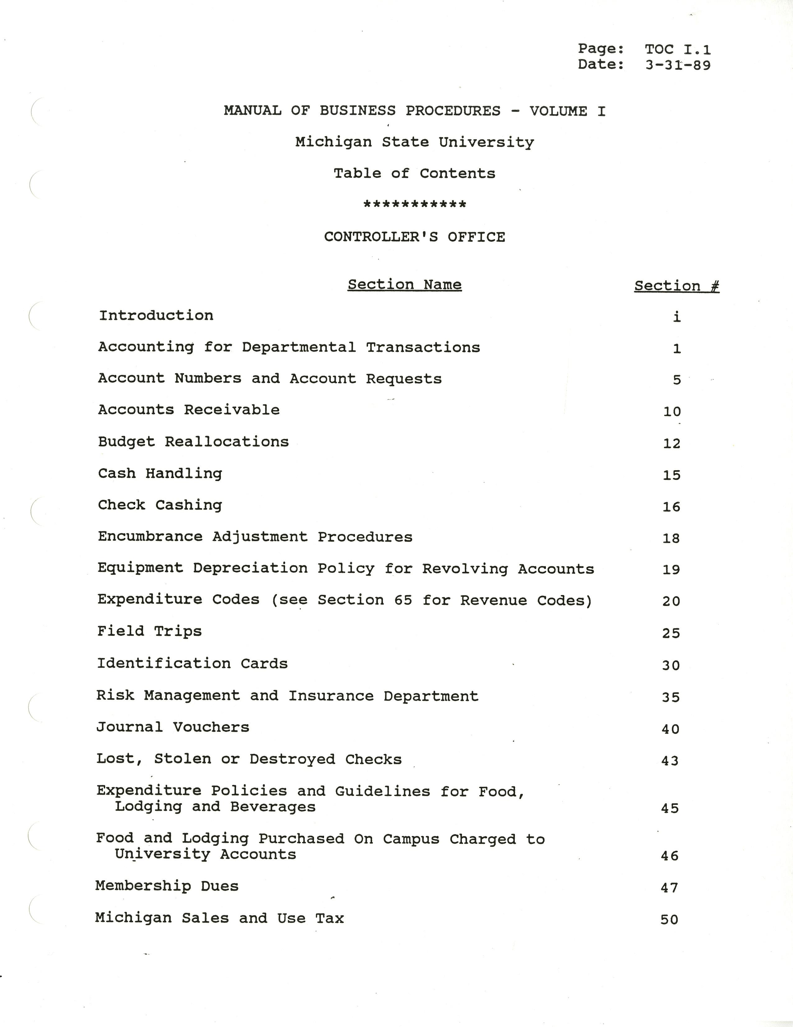 MSU Manual of Business Procedures, 1989