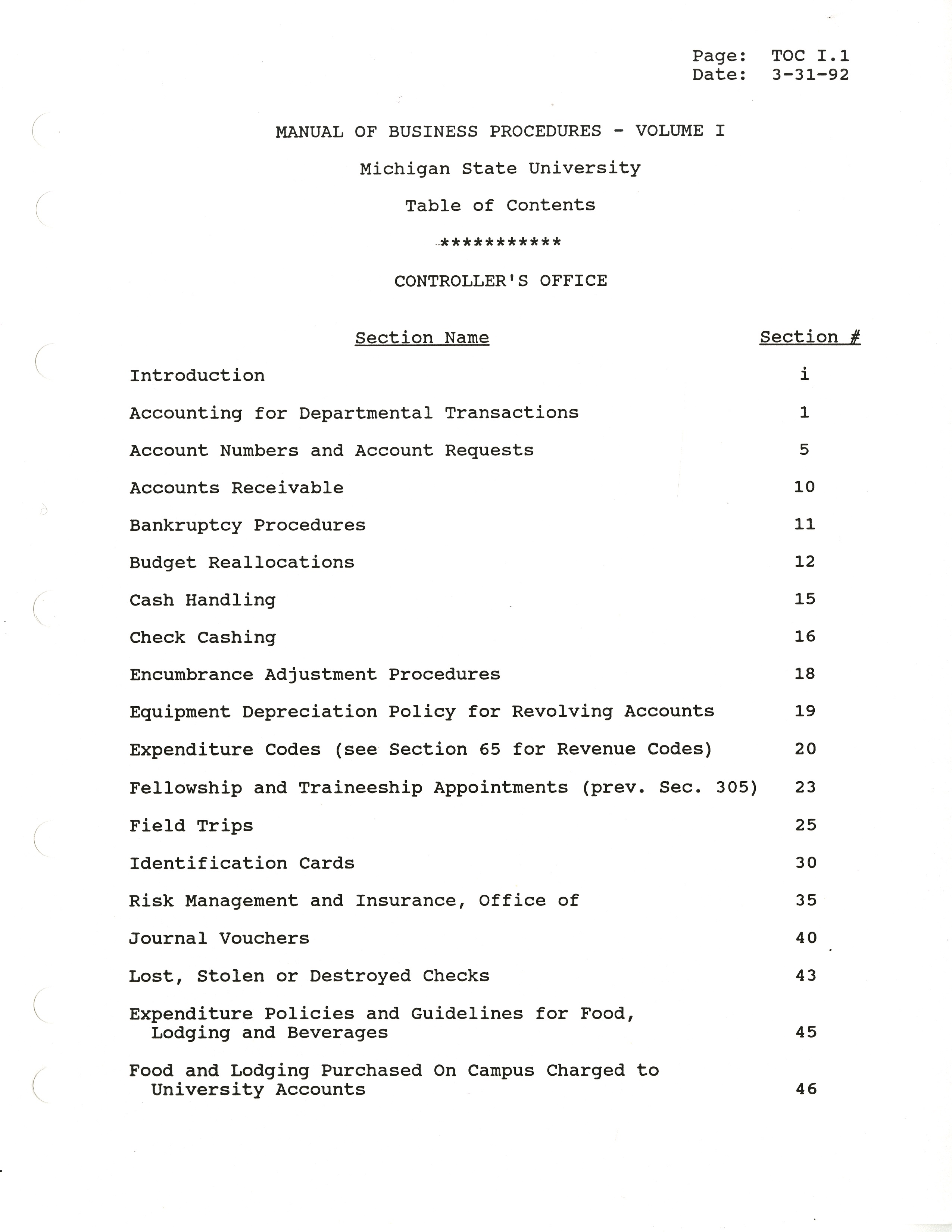 MSU Manual of Business Procedures, 1992