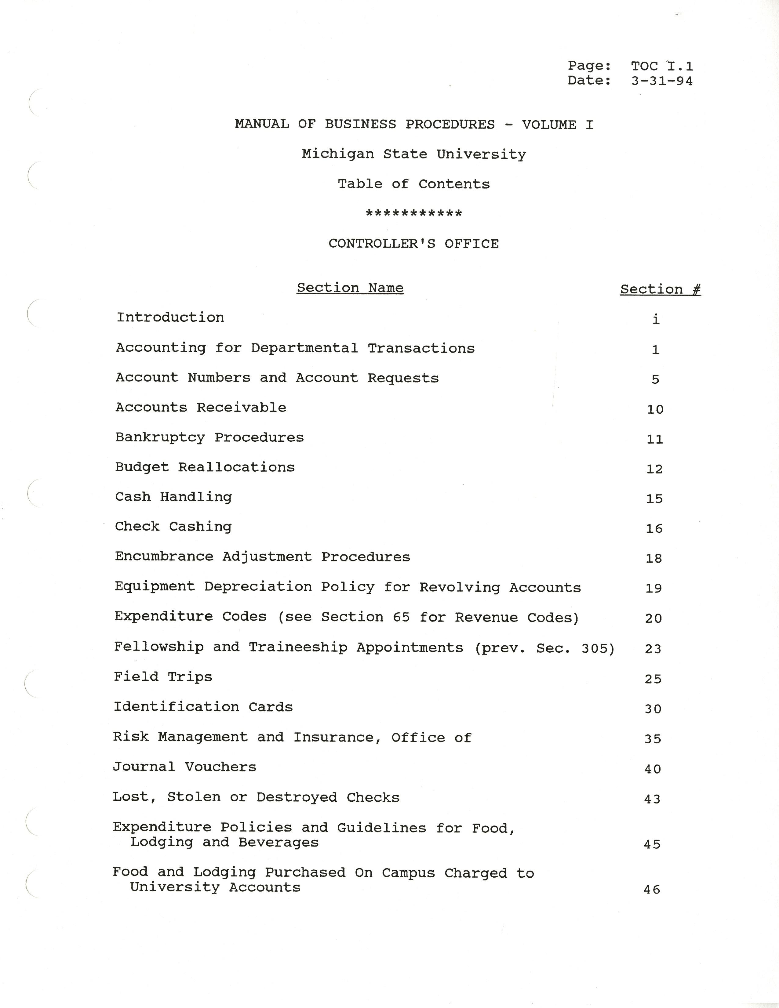 MSU Manual of Business Procedures, 1994