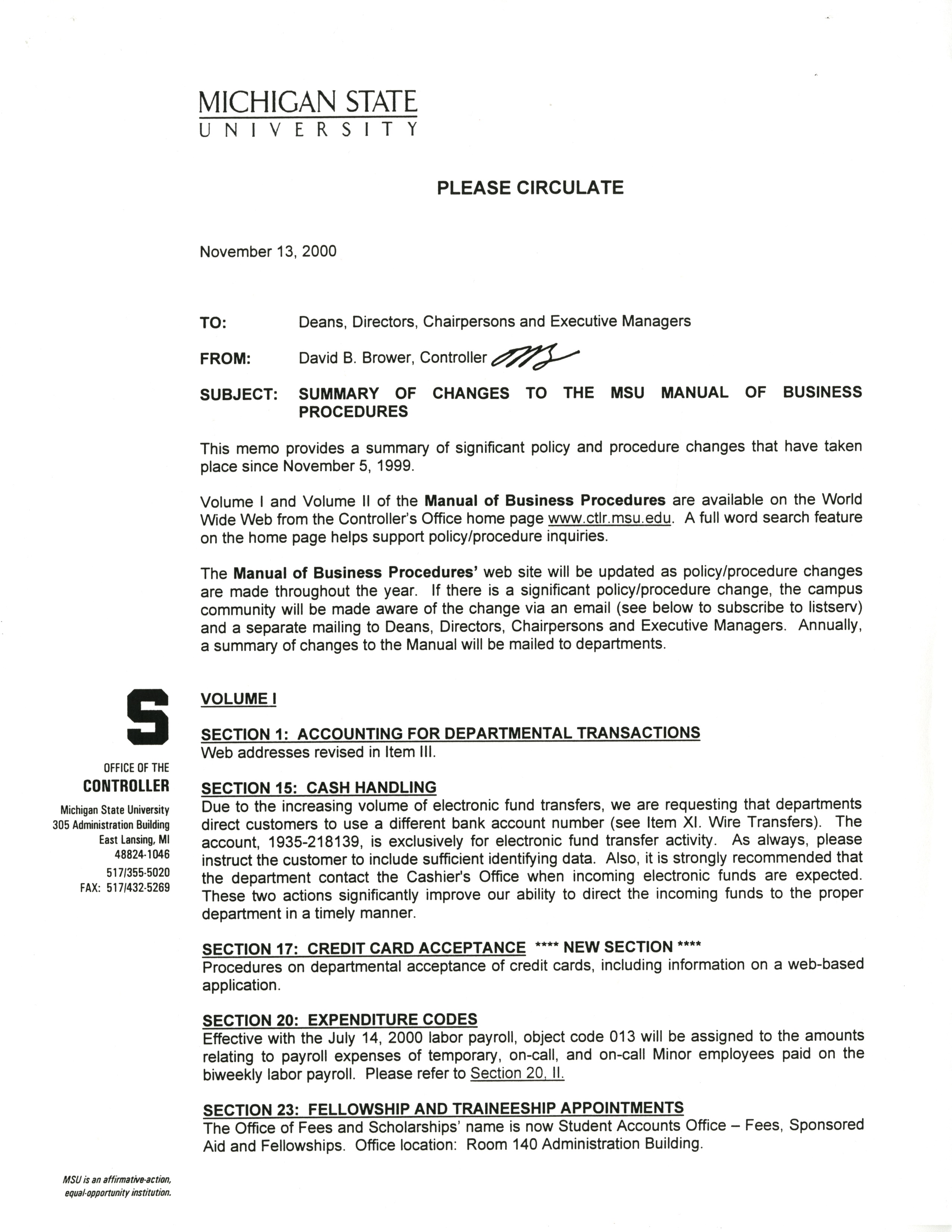 MSU Manual of Business Procedures, 1999-2000