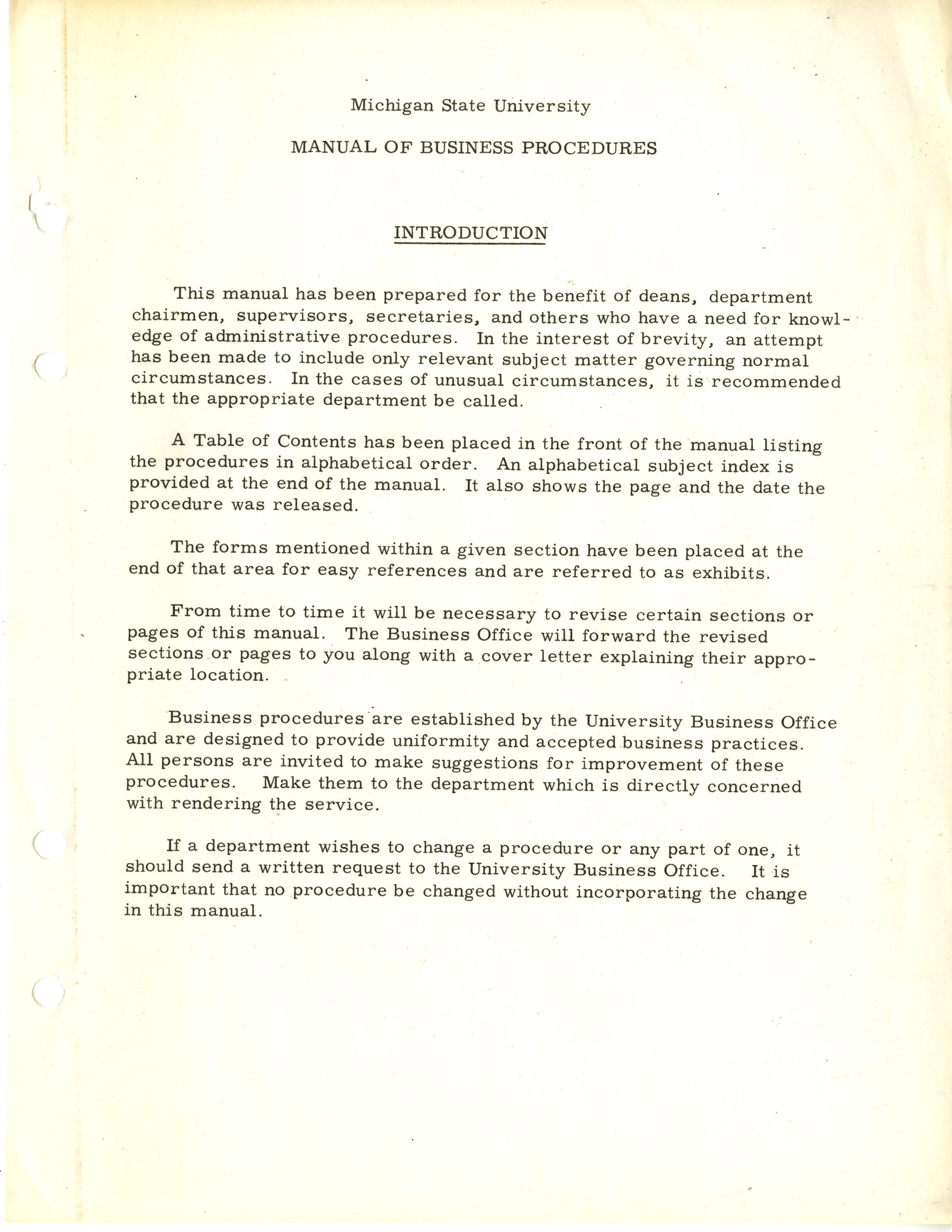MSU Manual of Business Procedures, 1973