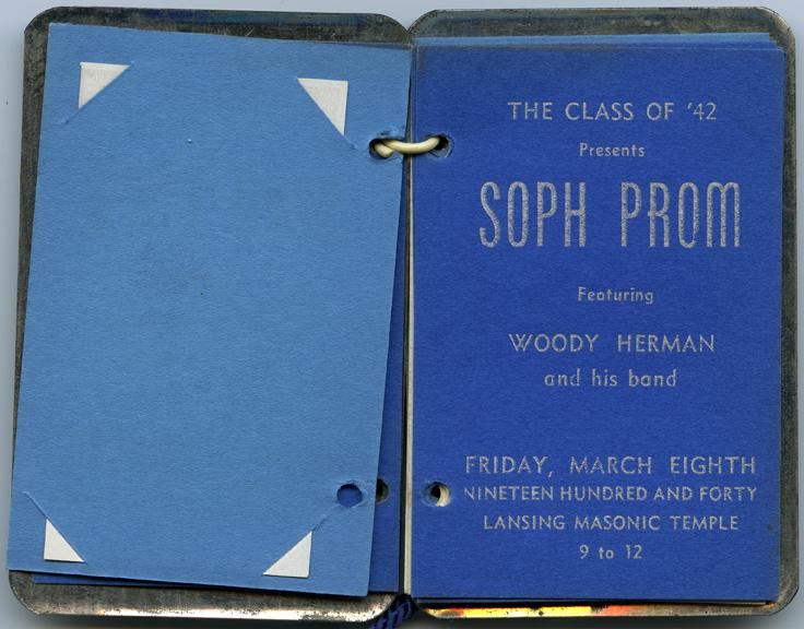 Soph Prom dance card, 1940