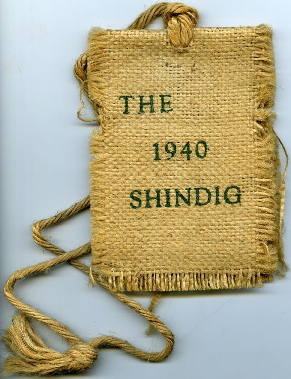 Shindig dance card, 1940