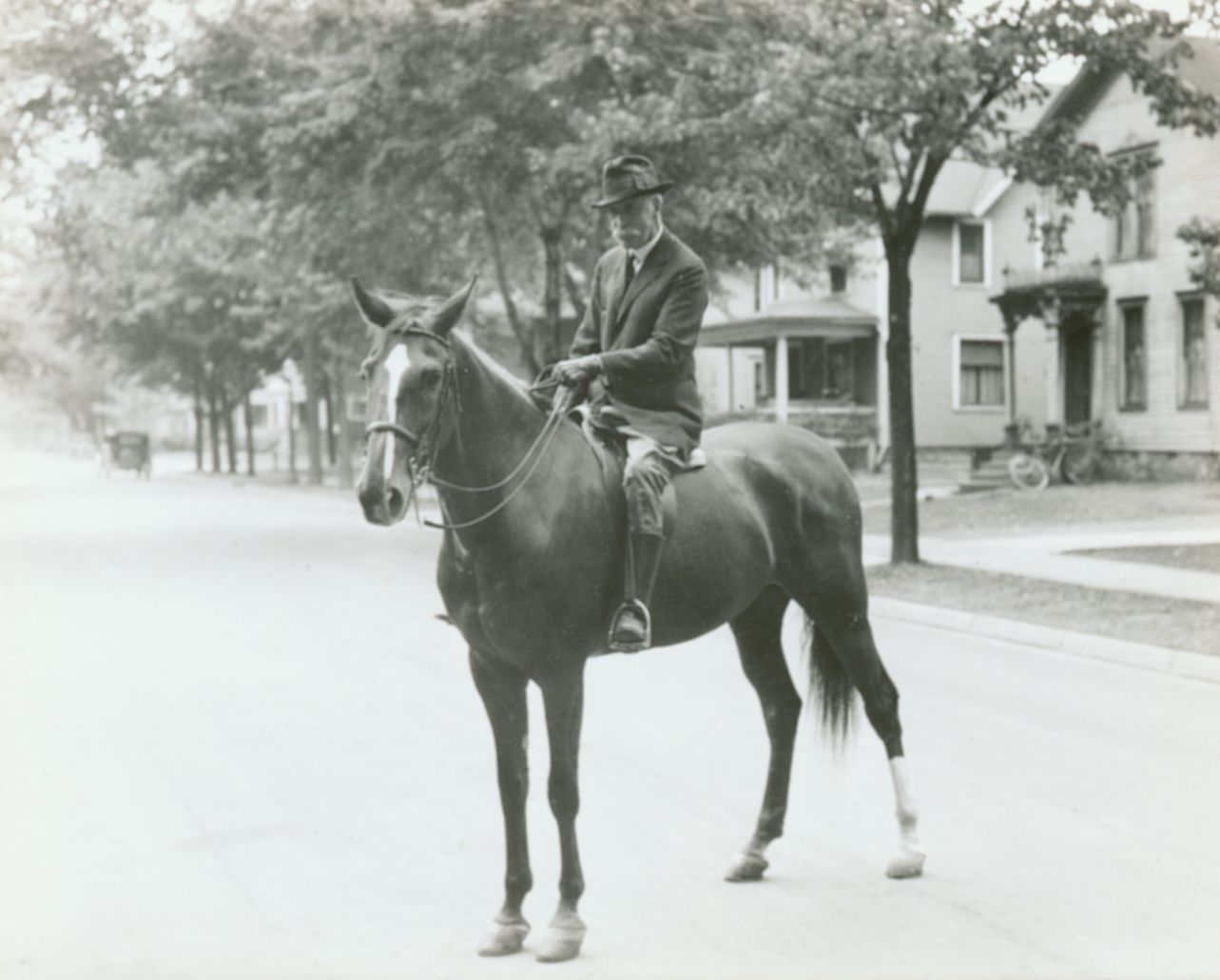 Frank Kedzie on a horse, 1931