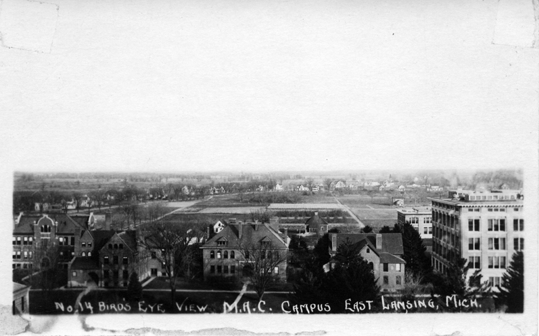 Bird's eye view of the M.A.C. campus looking east