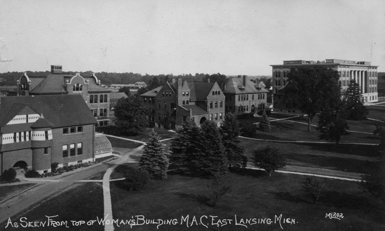 Bird's eye view of the M.A.C. campus from the Woman's Building