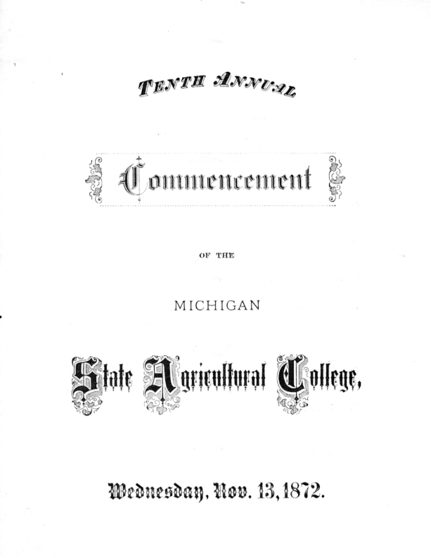 Commencement Program, 1876