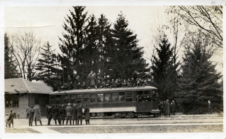 Group of people on a train at the Depot