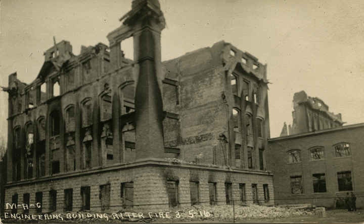 Engineering Building after the fire, 1916