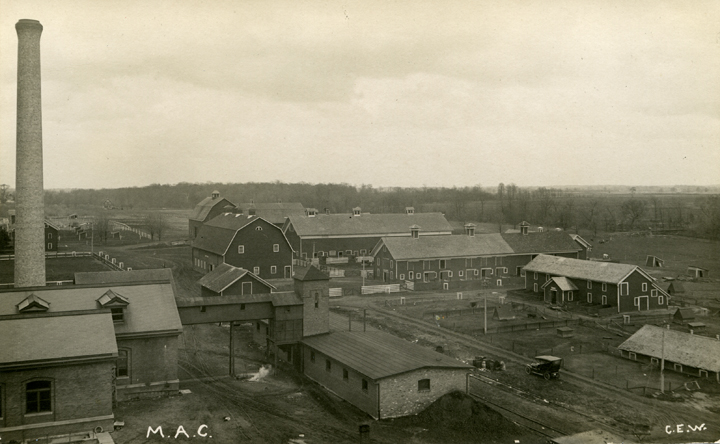 Birds-eye view of M.A.C. farm buildings